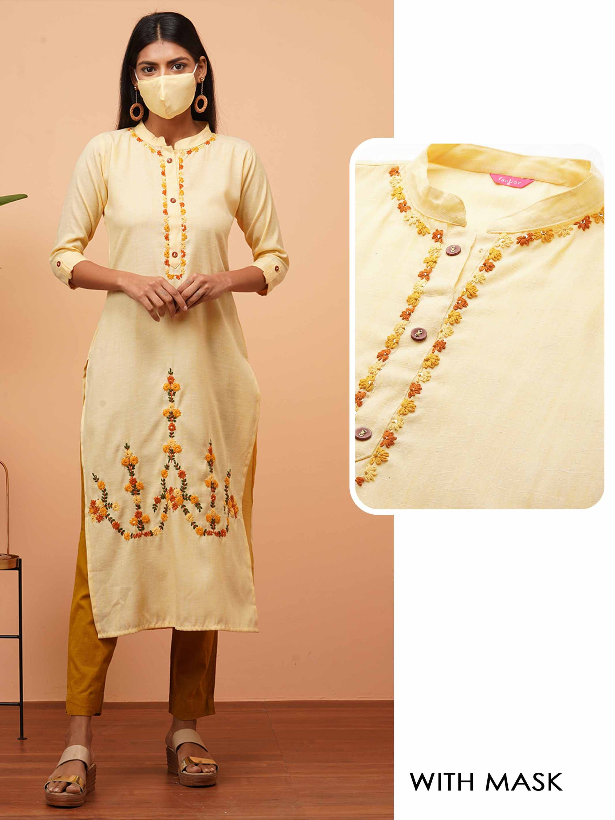 Handcrafted Floral Embroidered Straight Kurta - Yellow