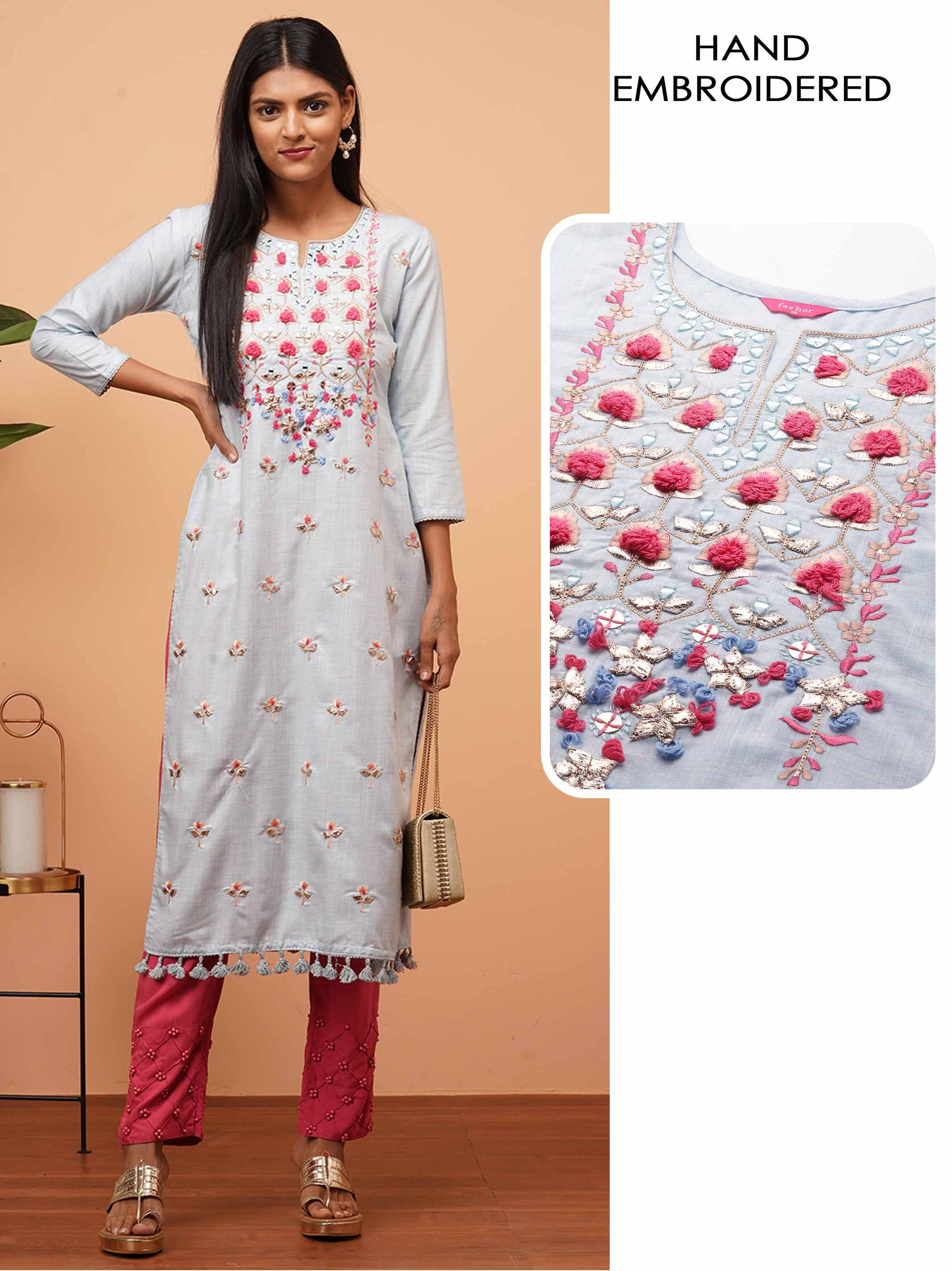 Floral & Mirror Hand Embroidered Yoke Straight Kurta - Powder Blue