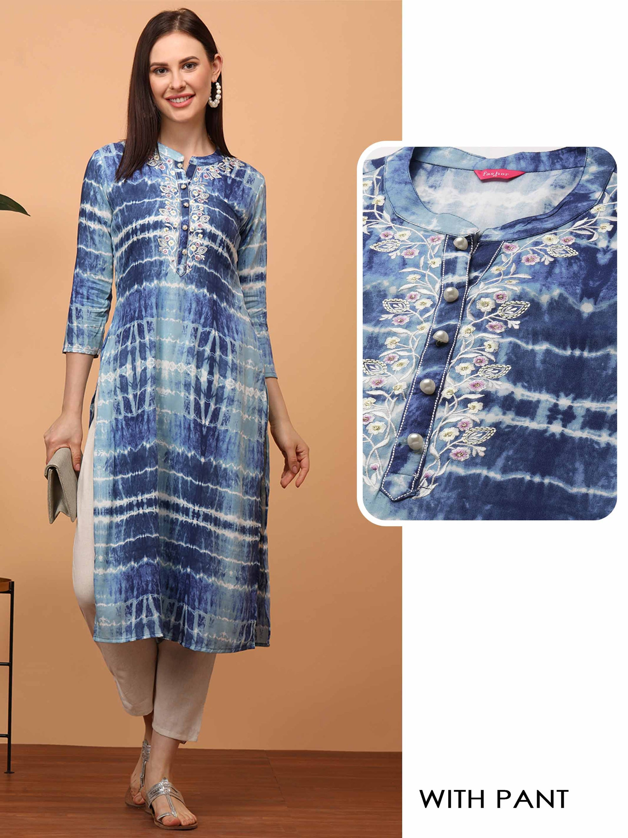 Tie Dye & Floral Embroidered Straight Kurta with Solid Handloom Cotton Pant - Blue