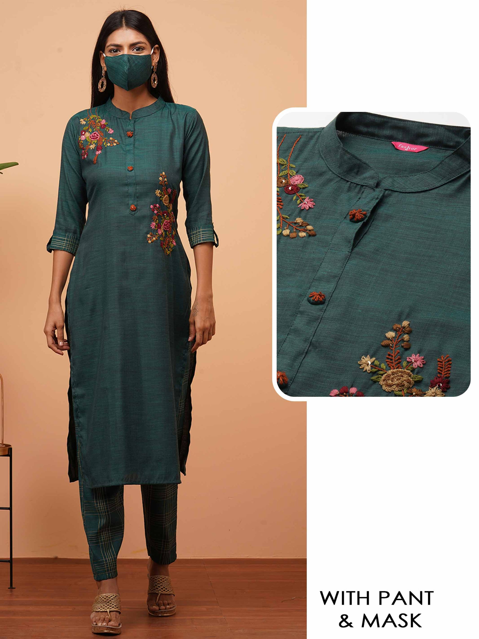 Floral Hand Embroidered Kurta with Checkered Pant & 2-Ply Mask - Emerald Green