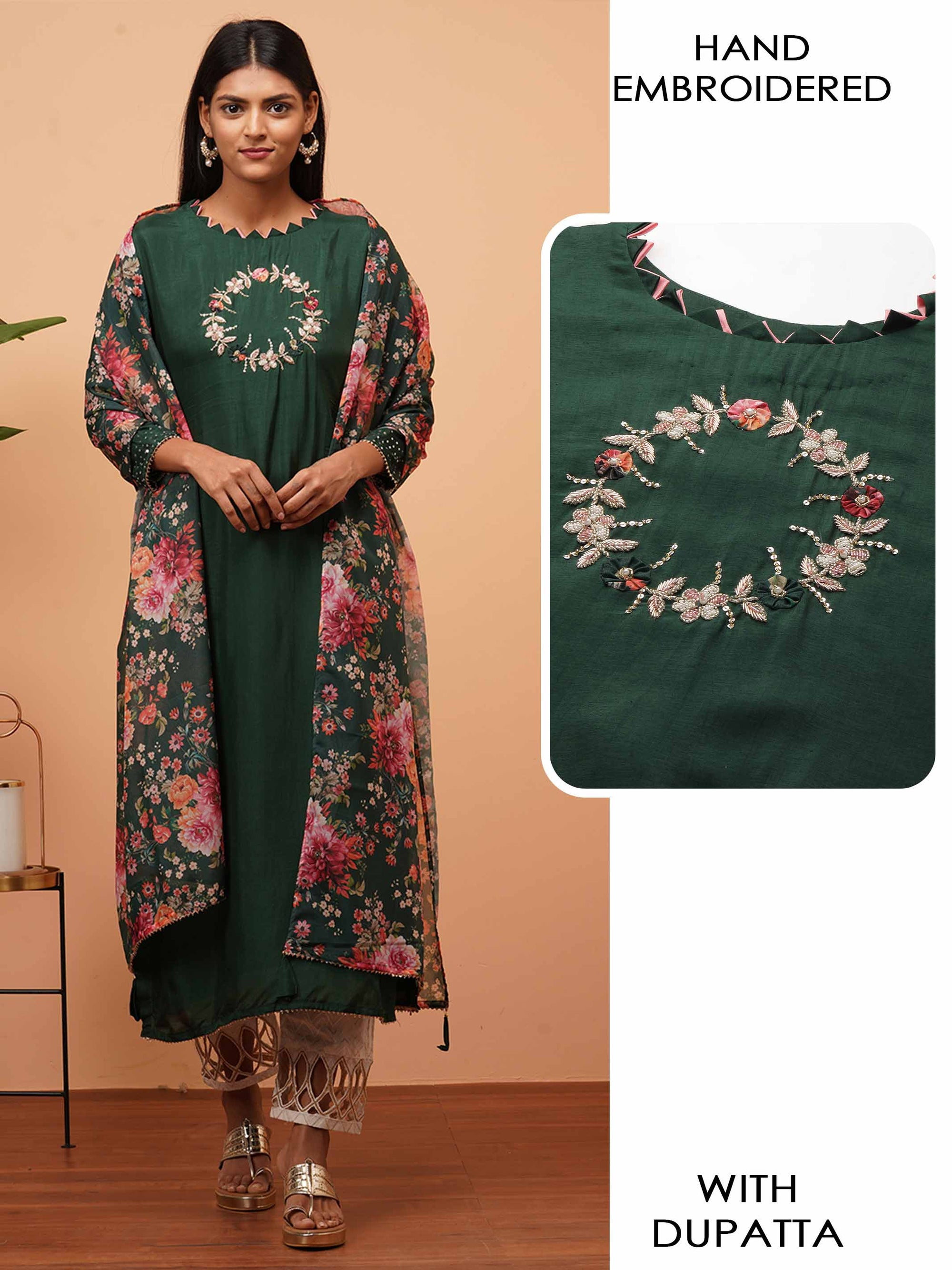 Floral Applique & Embellished Kurta with Dense Floral Printed Dupatta - Bottle Green