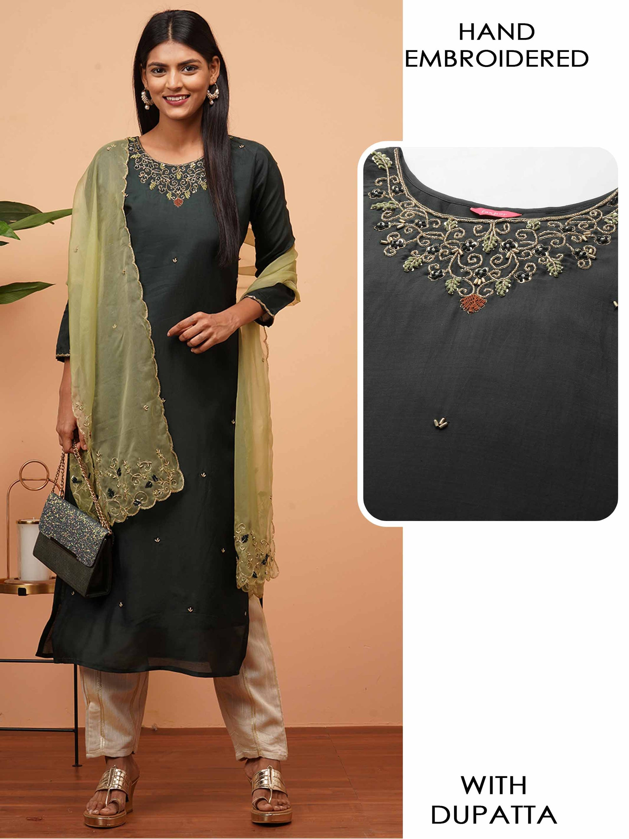 Heavy Hand Embroidered Straight Kurta with Hand Embroidered Scallop Dupatta - Emerald Green