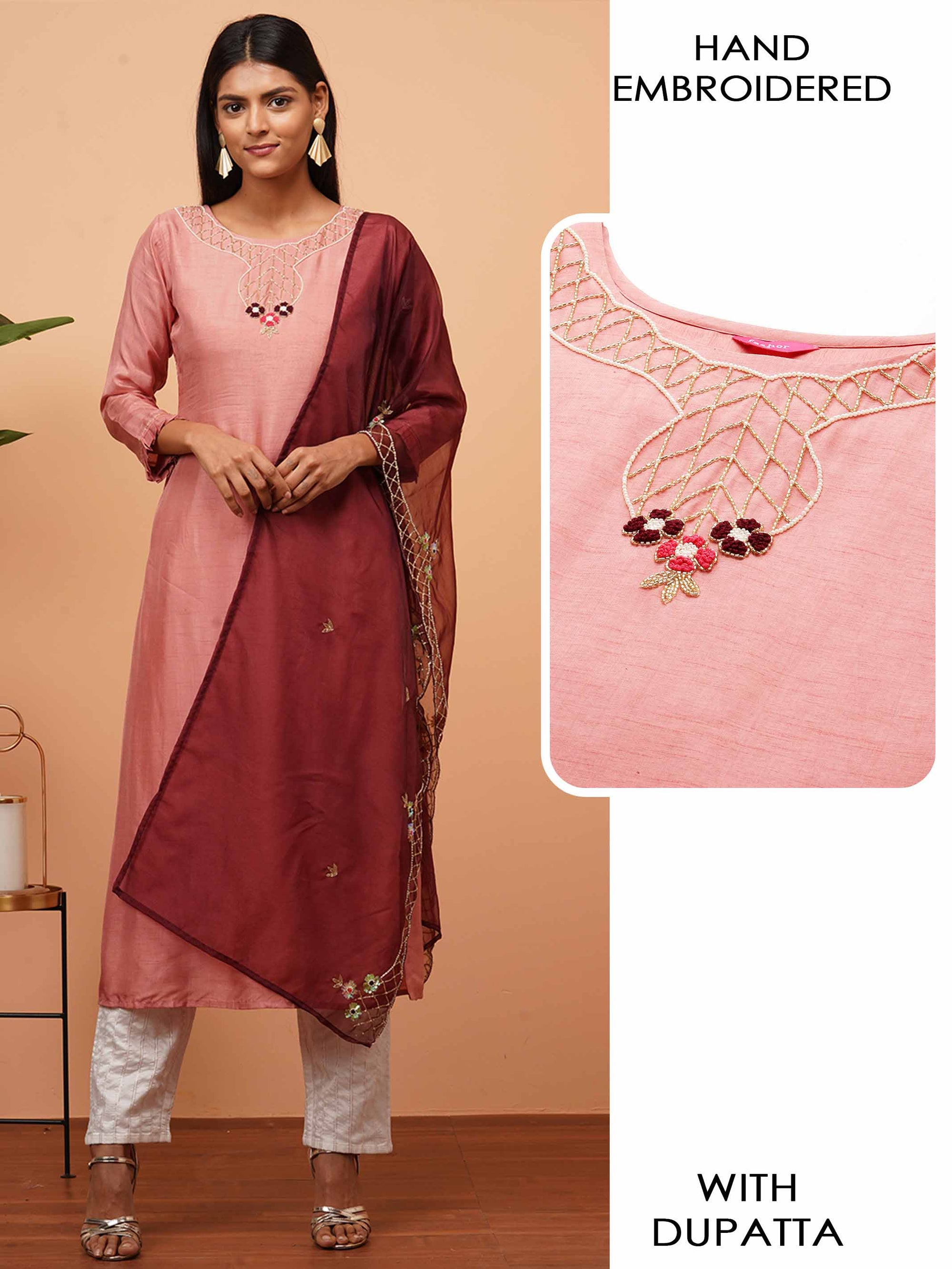 Ethnic Embellished Straight Kurta with Embellished Dupatta - Peach