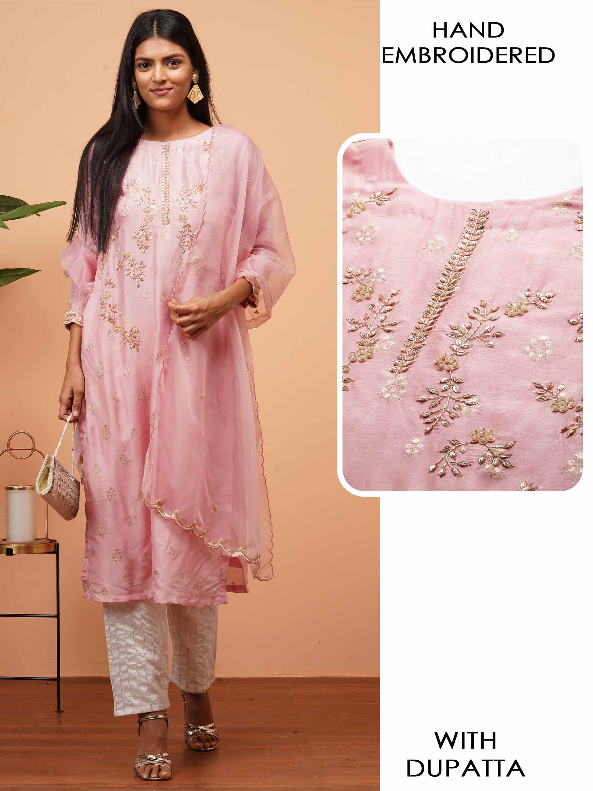 Woven & Hand Embroidered Straight Kurta with Hand Embroidered Scallop Dupatta - Pastel Pink