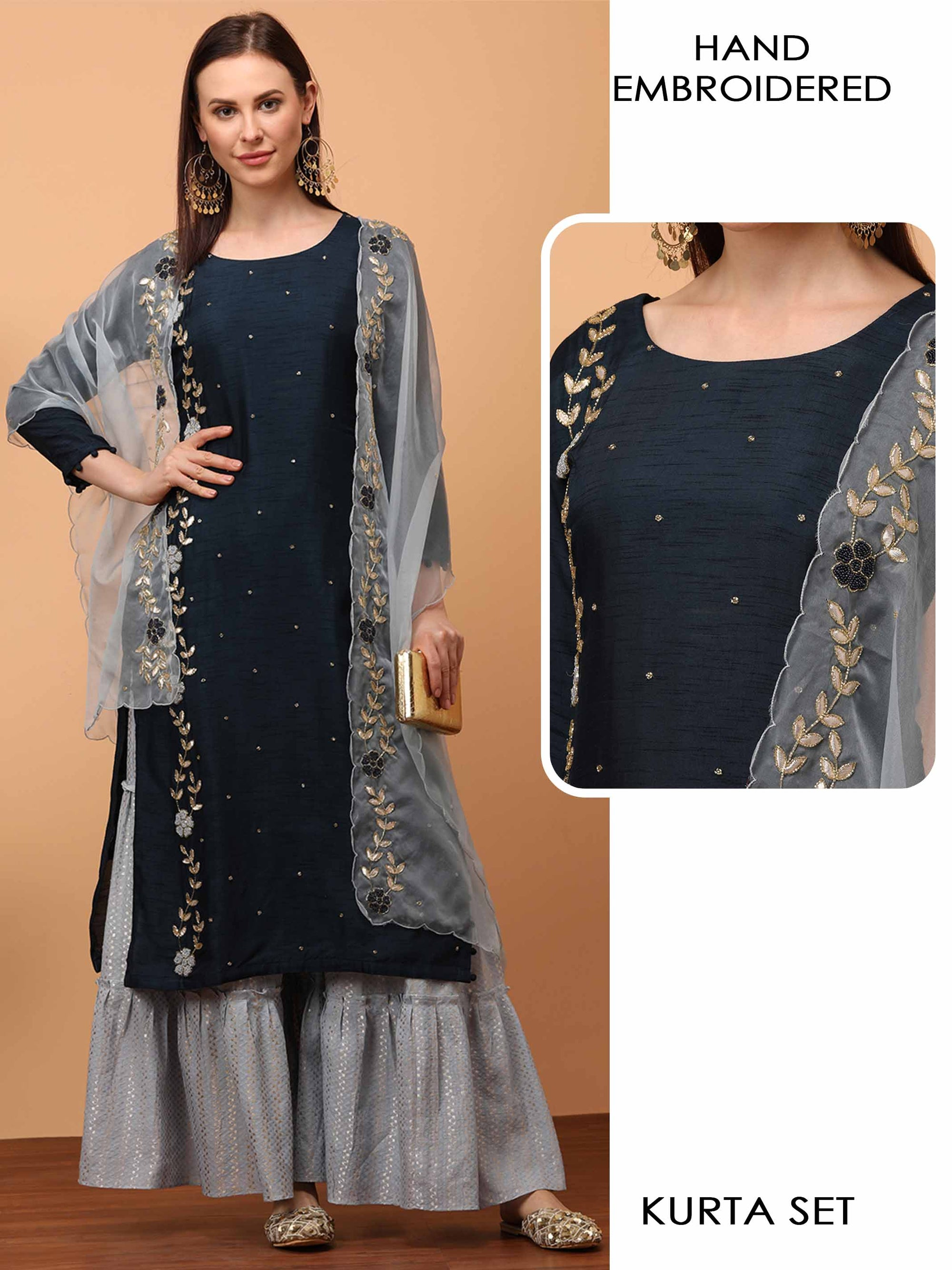 Hand Embroidered Straight Kurta with Woven Design Sharara with Hand Embroidered Scallop Dupatta - Navy Blue