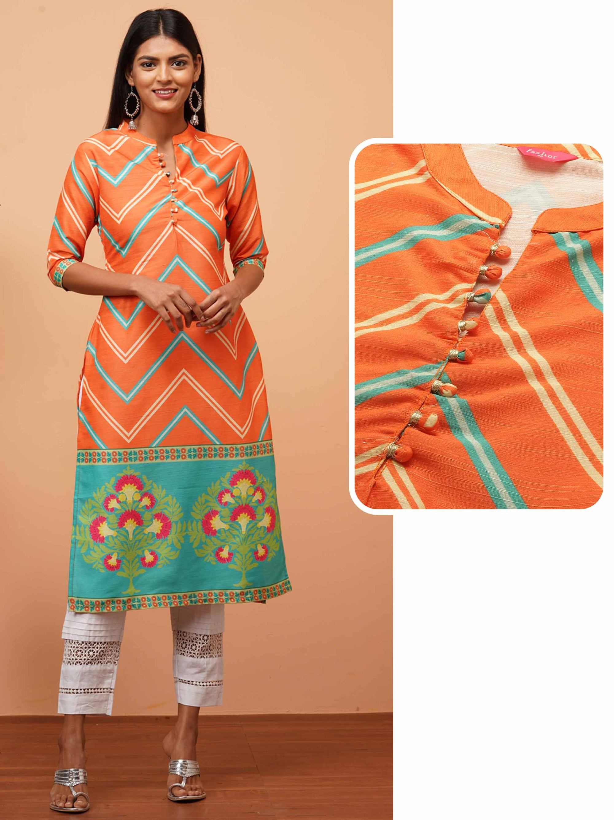 Chevron & Floral Mix Printed Straight Kurta - Orange