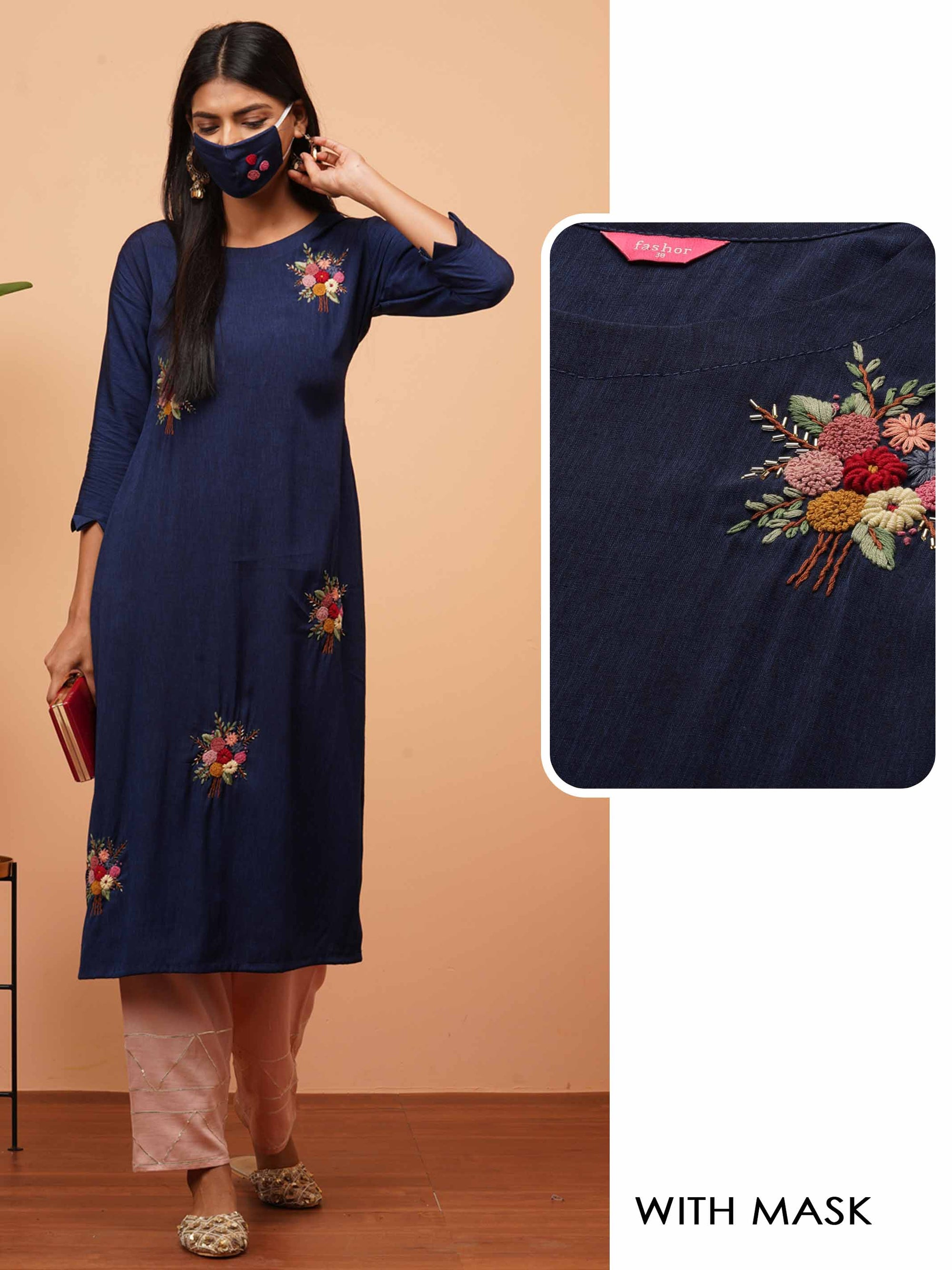 Bullion Knot Floral Embroidered Straight Kurta with Embroidered 2-Ply Mask - Navy Blue