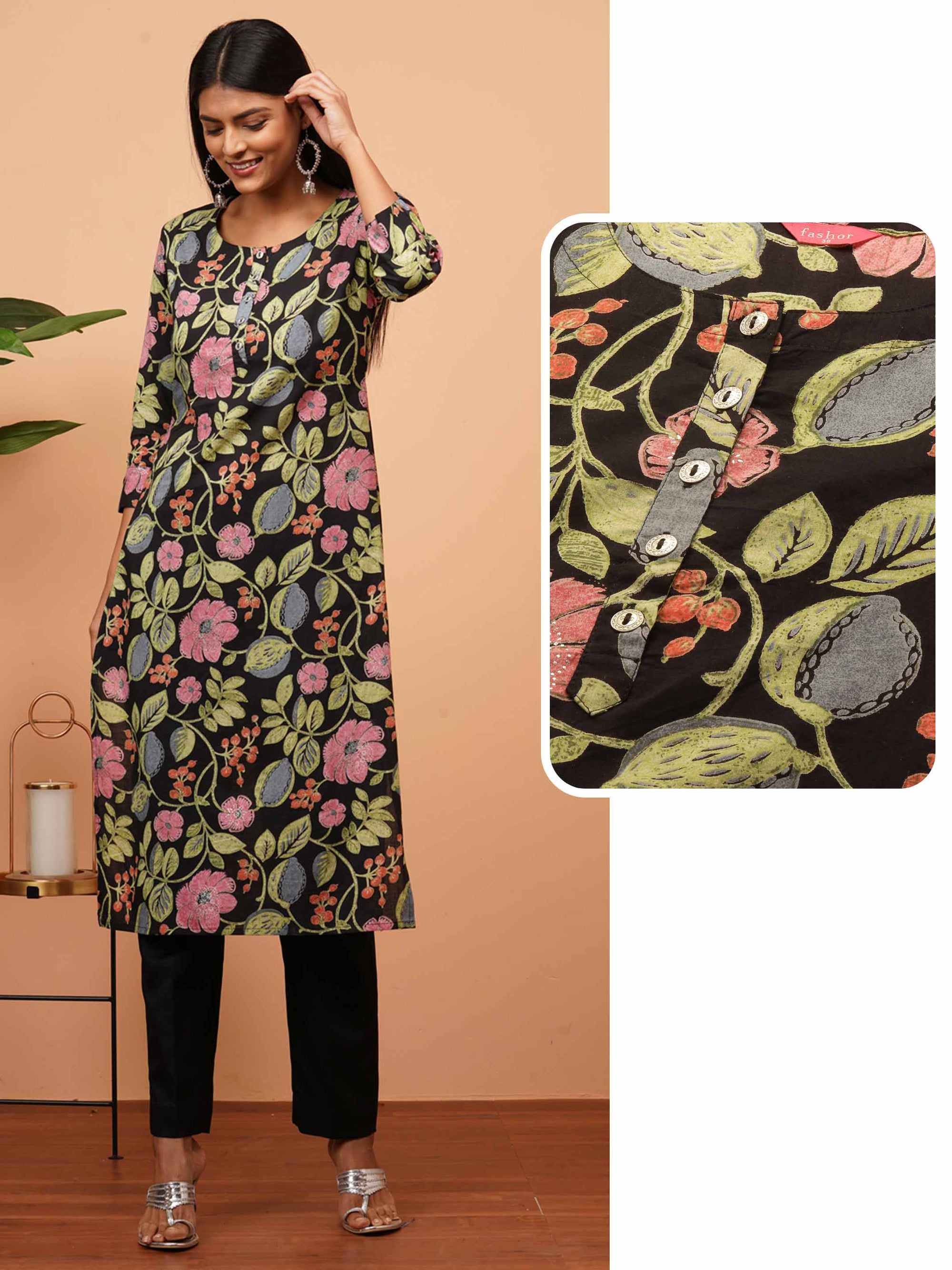 Floral Jaal Mix printed Straight Kurta - Black