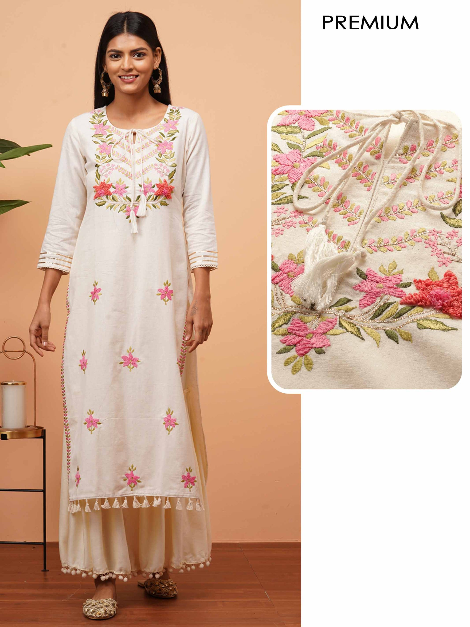 Floral Thread & Gota Embroidered Handloom kurta - Off White
