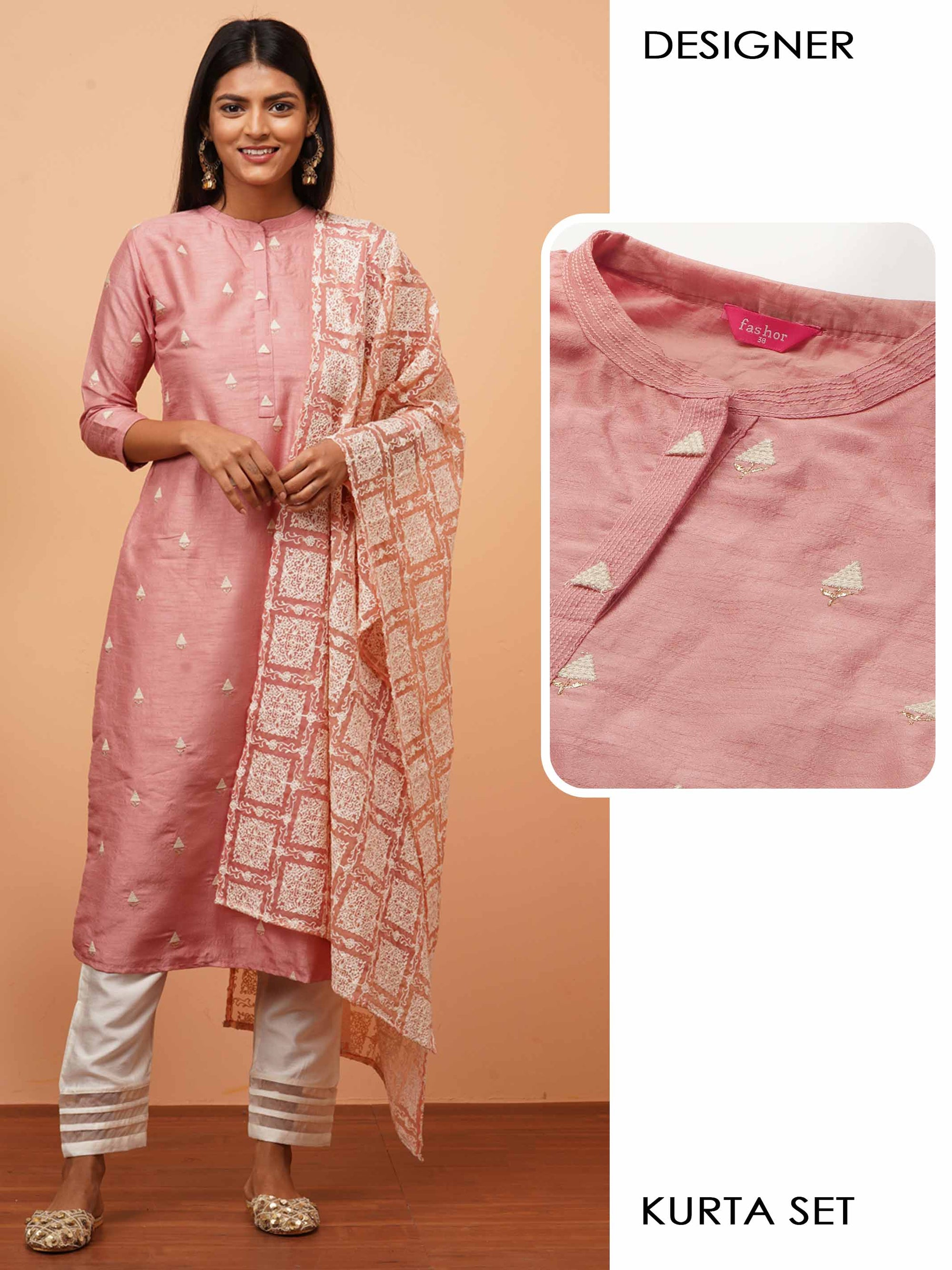 Ethnic Embroidered Kurta with Solid Pant with Dense Embroidered Dupatta - Pink