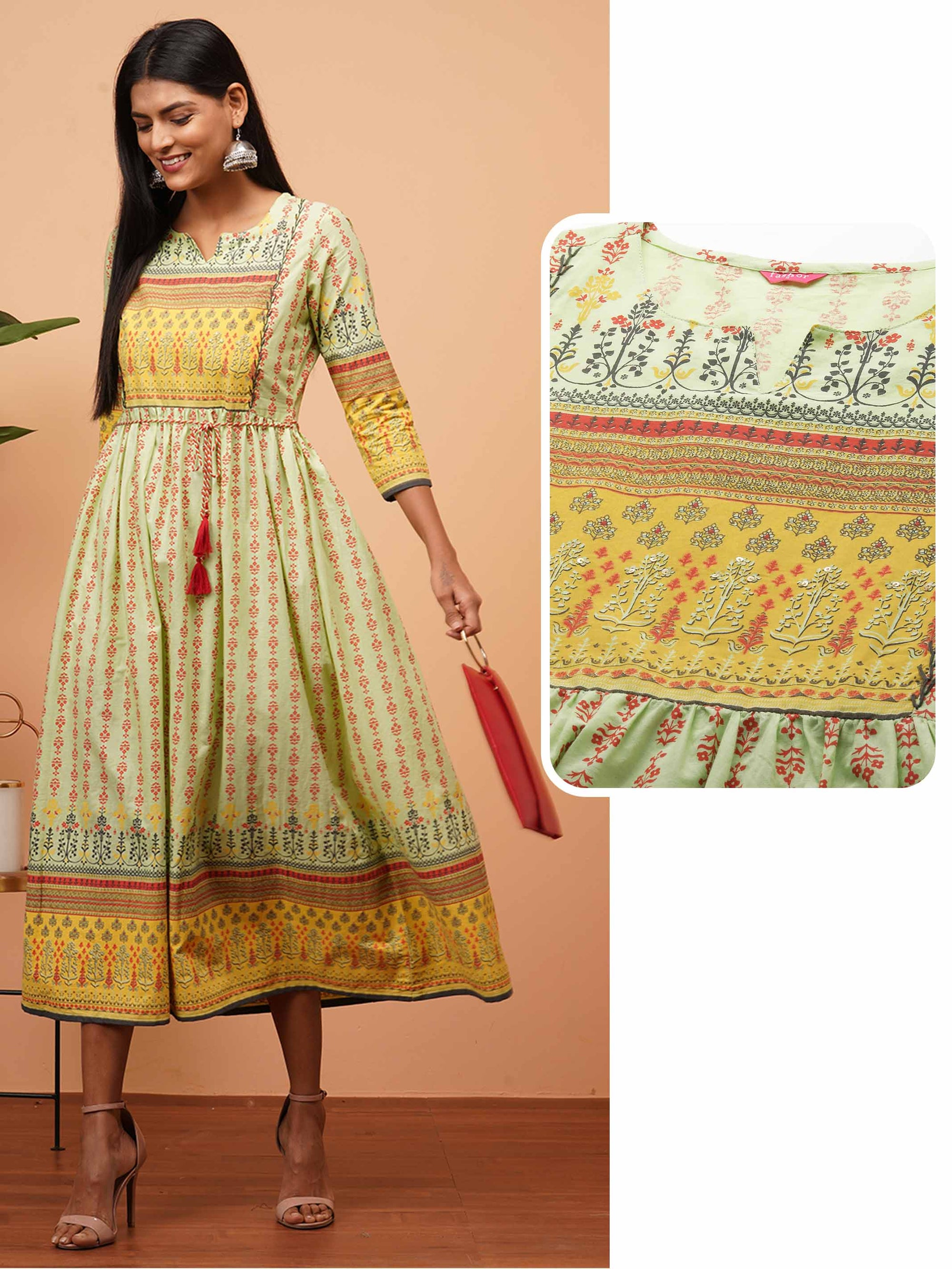 Ethnic Mix Printed Gathered Flared Kurta - Green