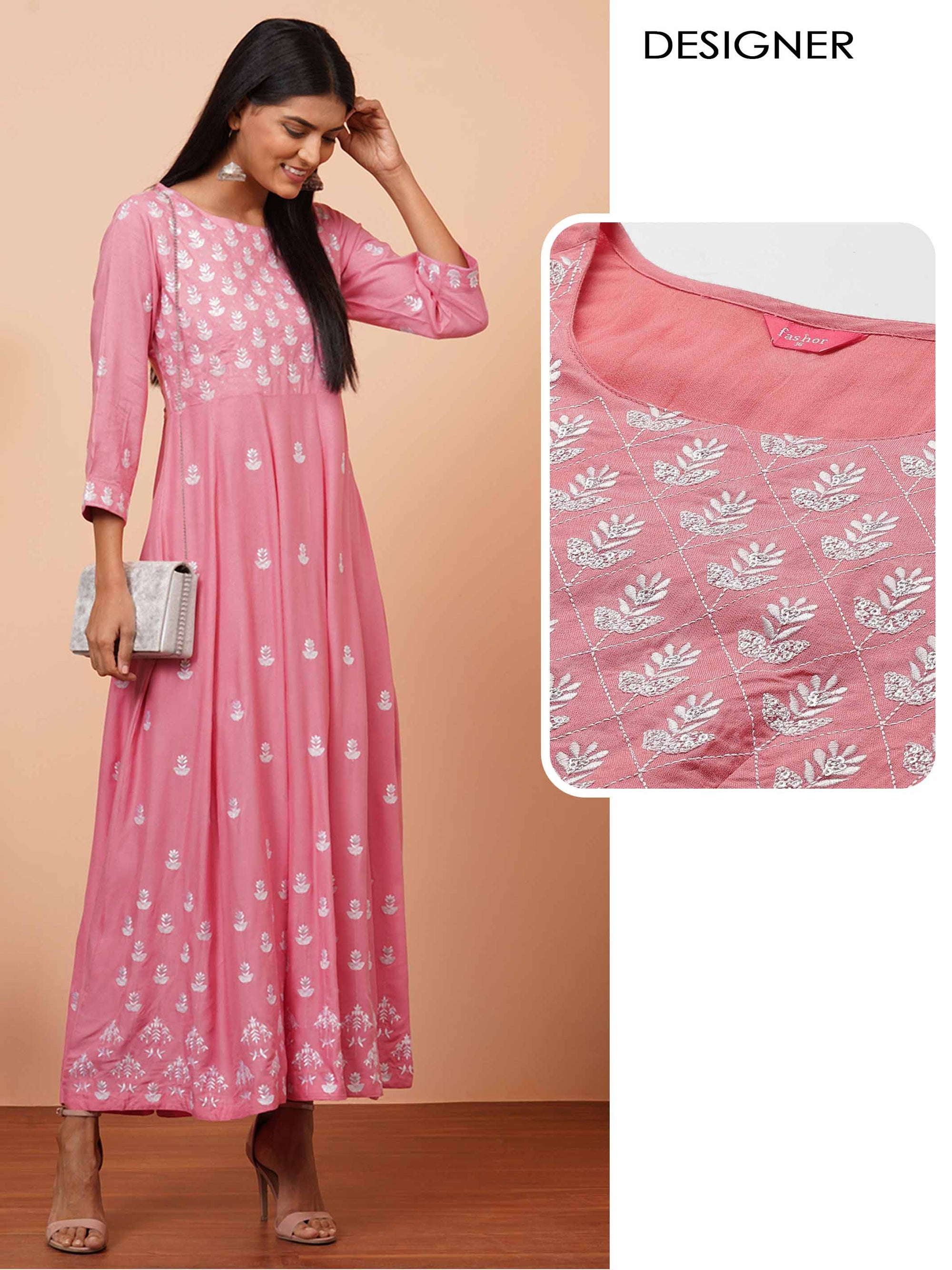 Floral Embroidered Maxi Dress - Pink