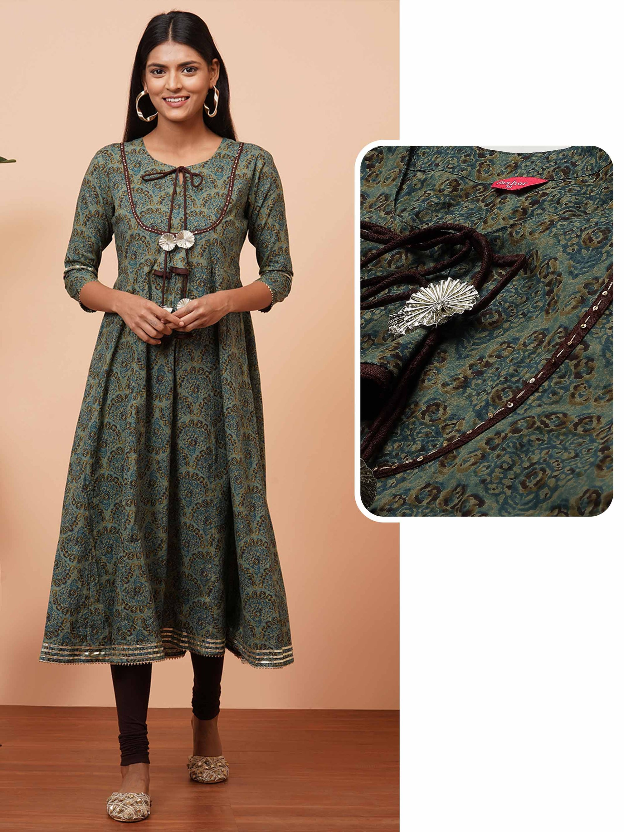 Dense Dabu Printed & Kantha Hand Embroidered Kurta - Green