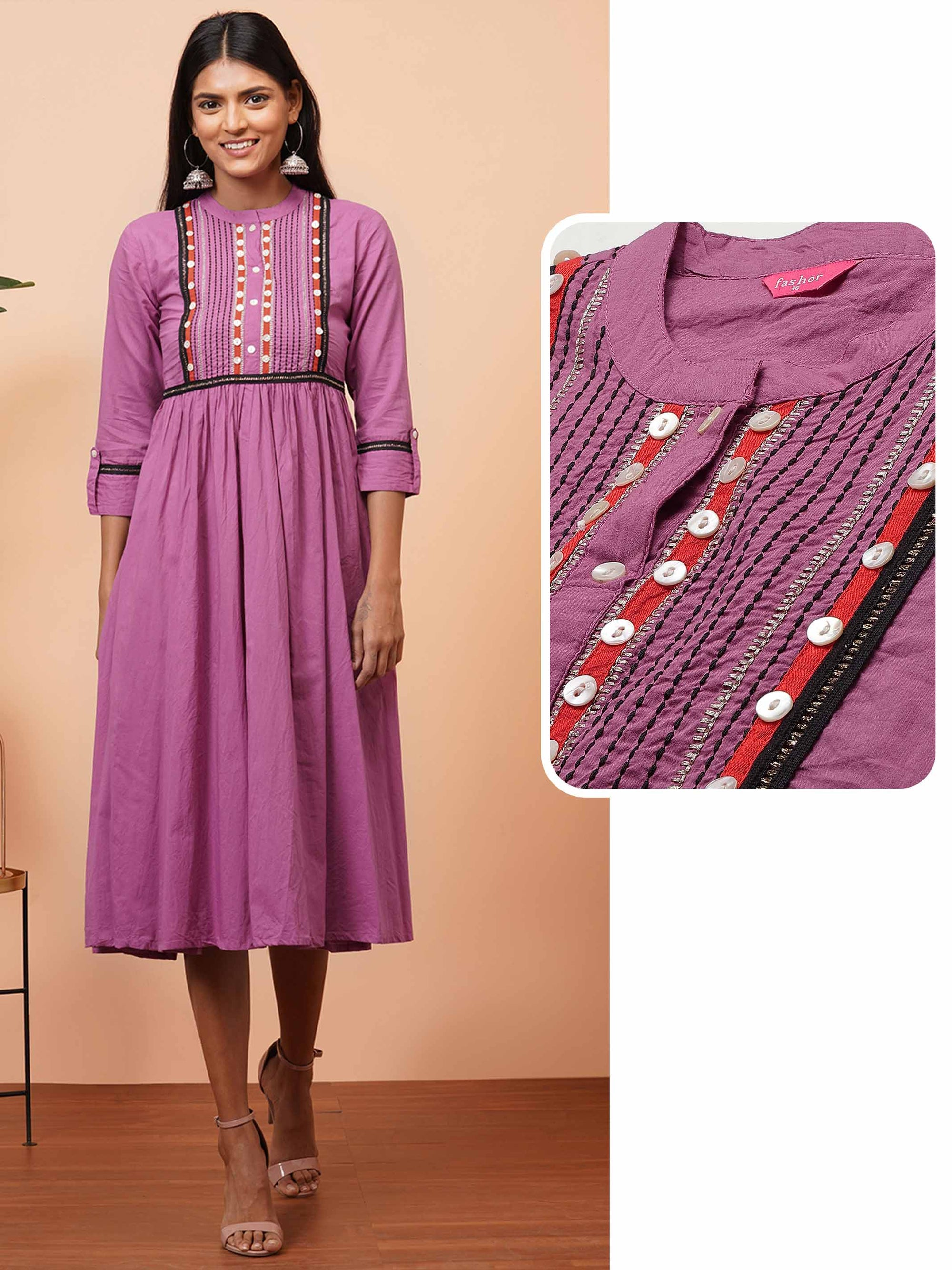 Kantha Embroidered Gathered Flare Kurta - Lavender