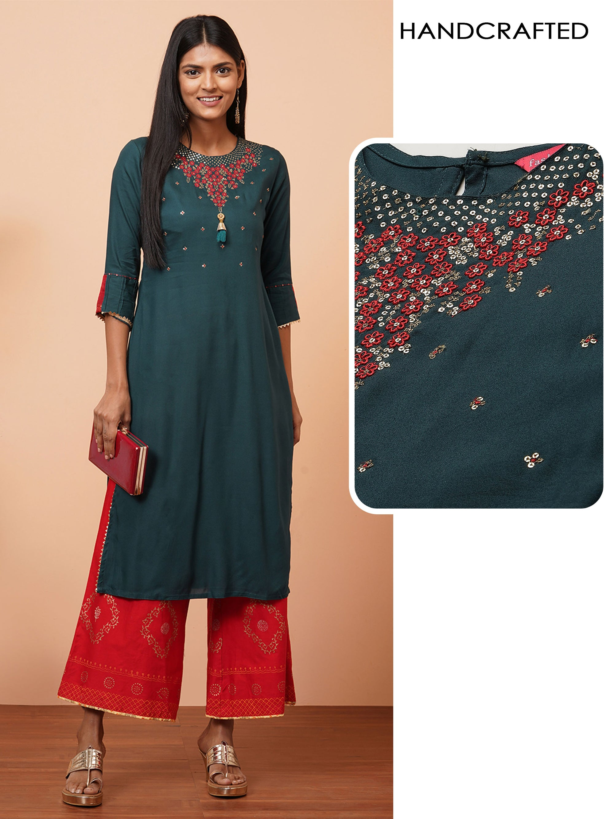 Floral Hand Embroidered Yoke Festive Kurta - Teal Green