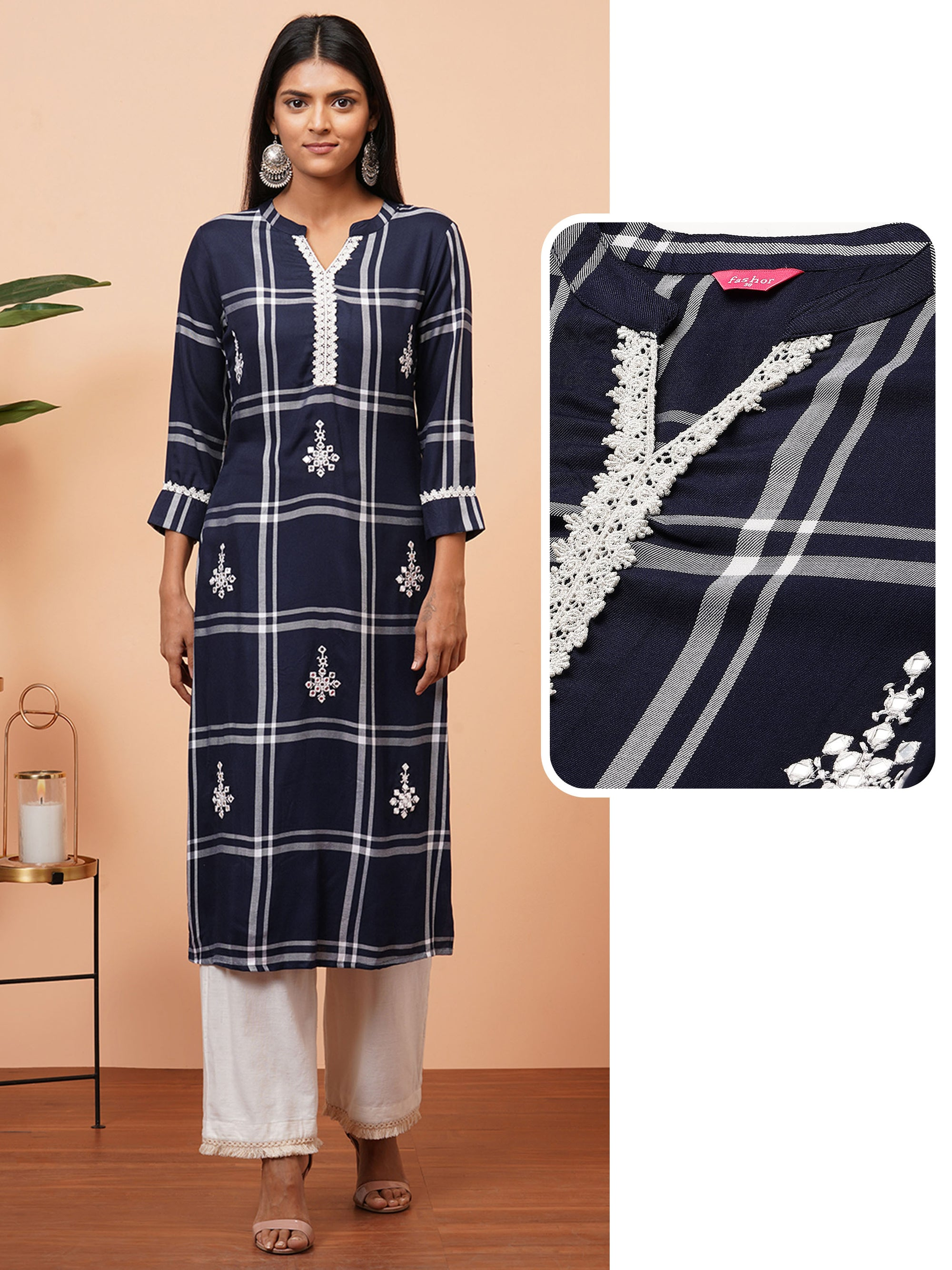 Woven Checkered & Embroidered Straight Kurta - Navy Blue