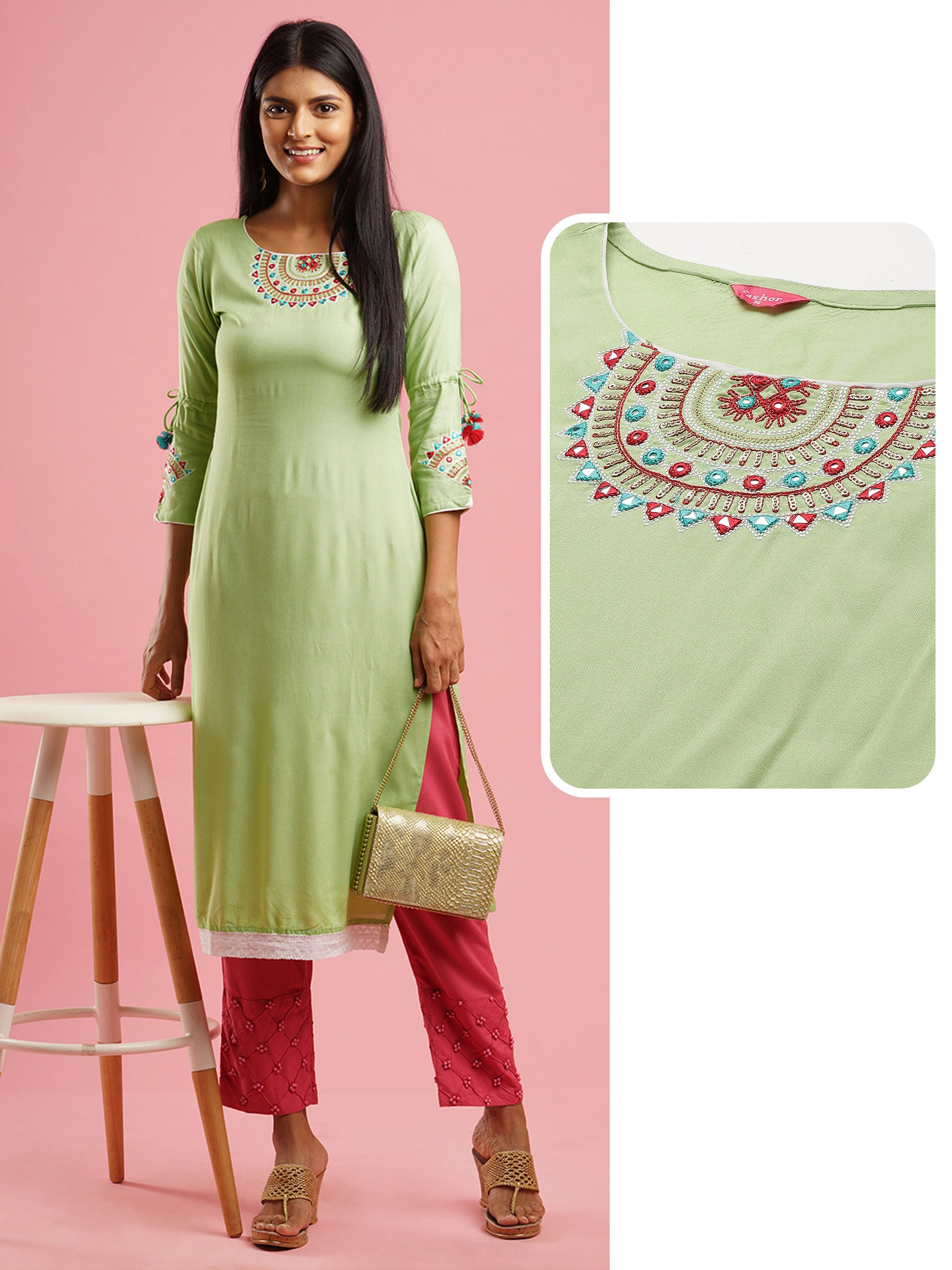 Ethnic Embroidered Straight kurta - Lemon Green