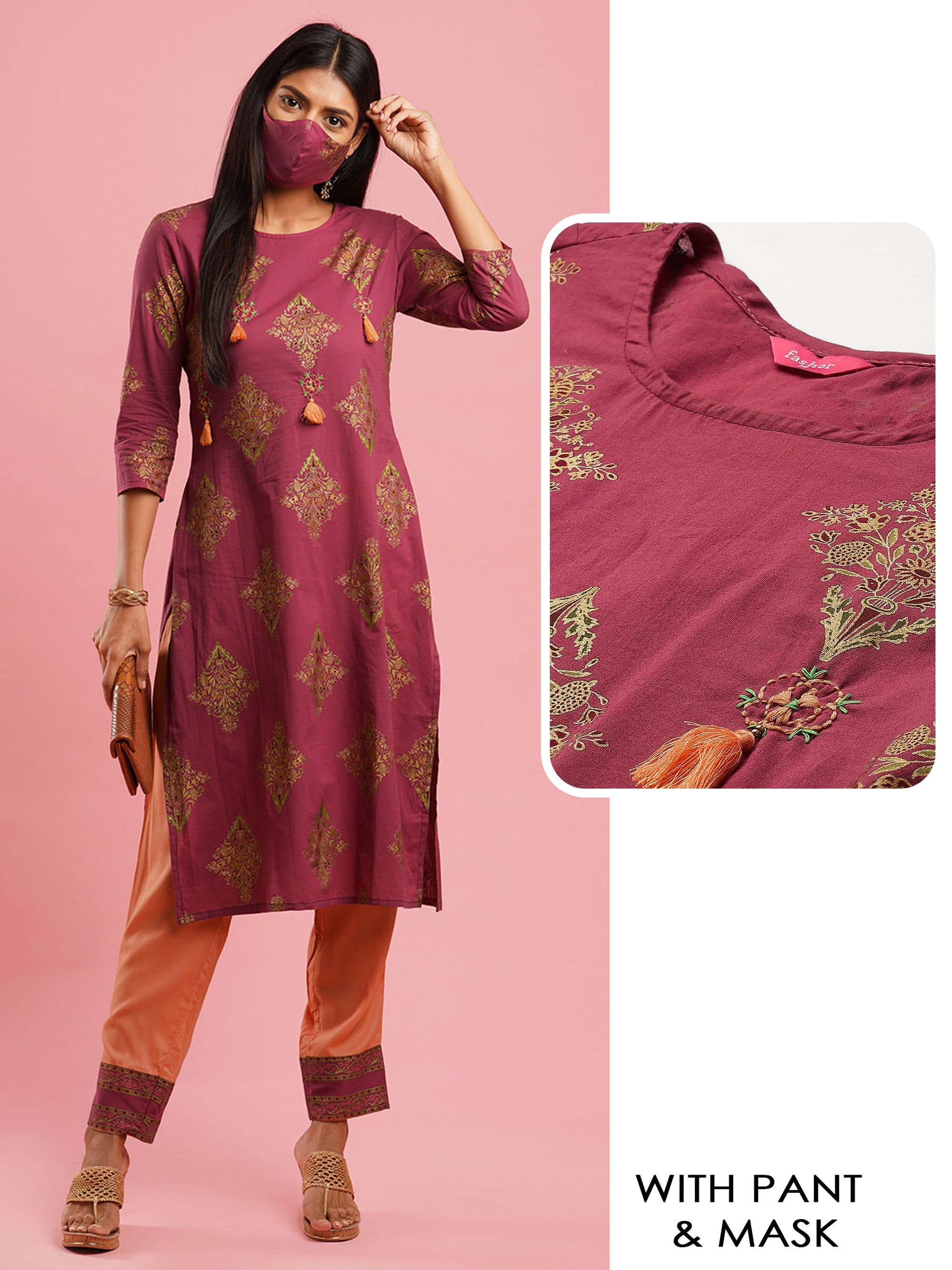 Ethnic Foil Printed & Handcrafted Straight Kurta with Pant with 2-Ply Mask – Hippie Pink