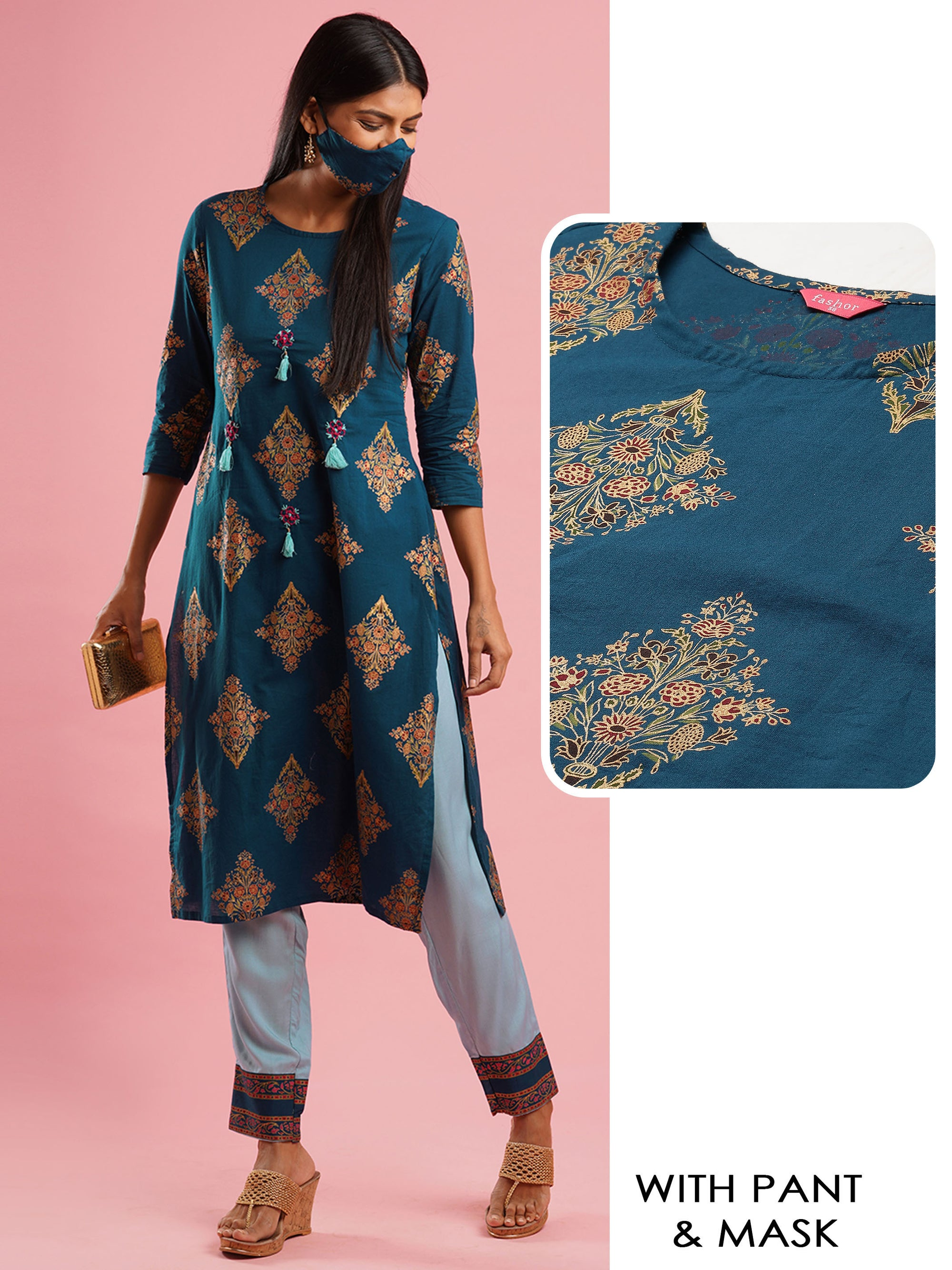 Ethnic Foil Printed & Handcrafted Straight Kurta with Pant & 2-Ply Mask – Teal