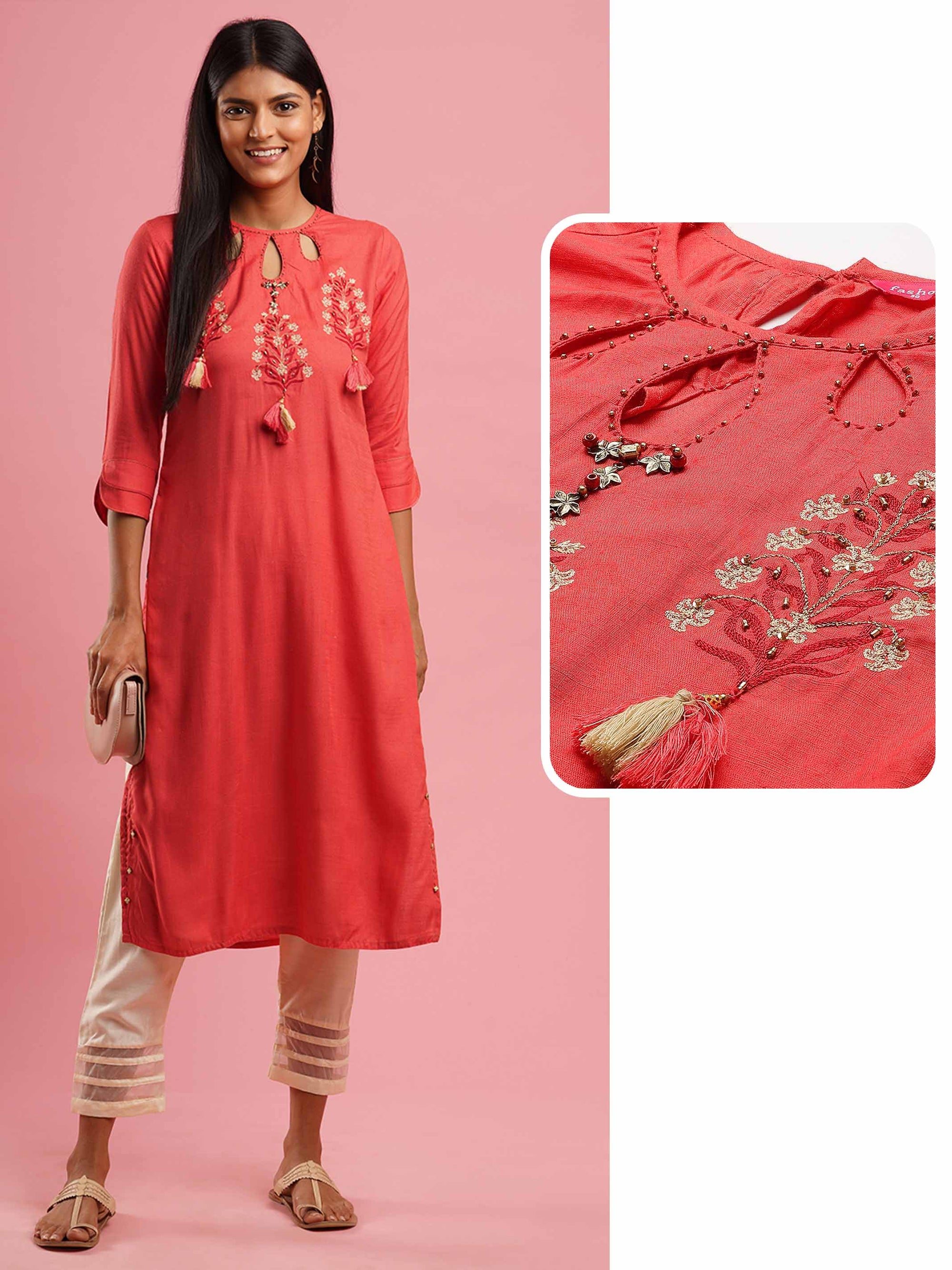Floral & Hand Embroidered Straight Kurta - Salmon Pink