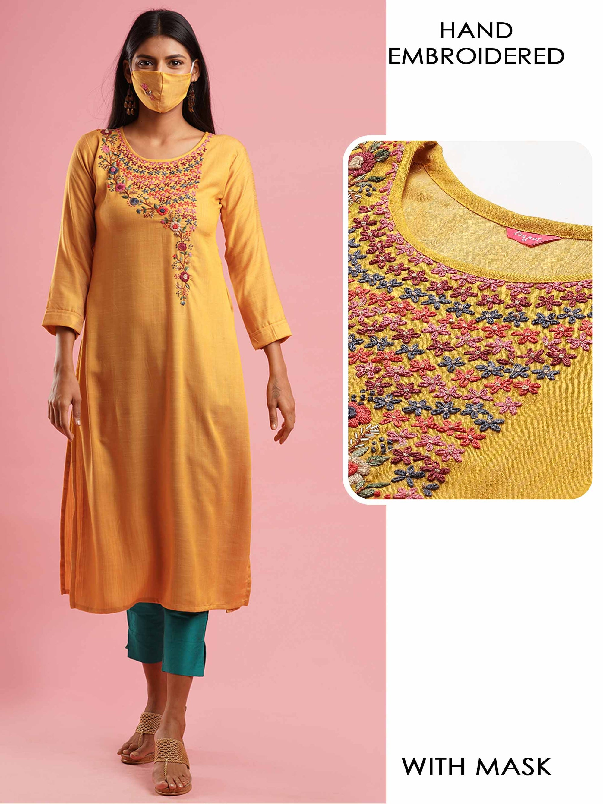 Floral Hand Embroidered Straight Kurta with 2-Ply Mask - Mustard