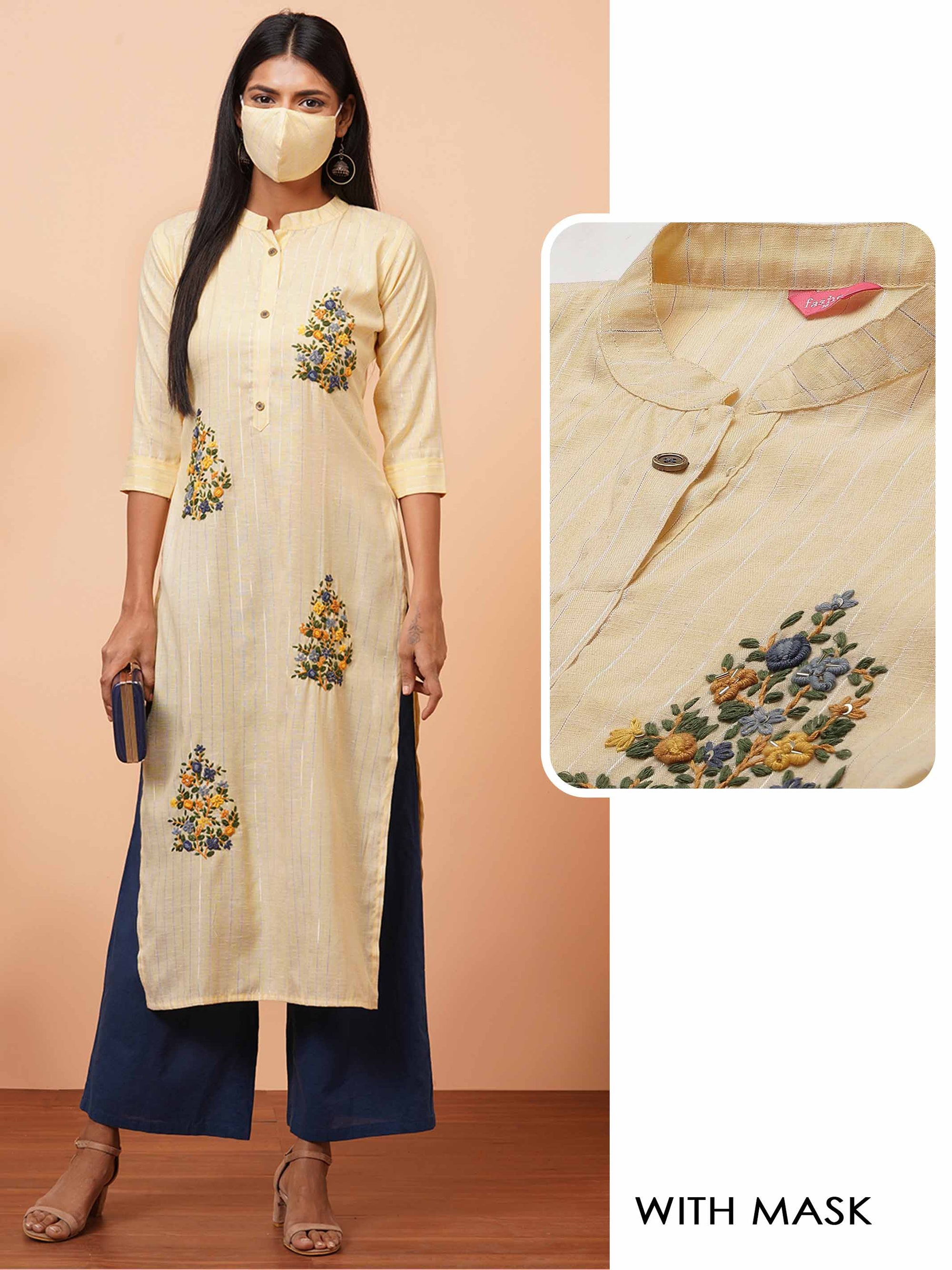 Floral Hand Embroidered Lurex Woven Straight Kurta with 2-Ply Mask - Yellow