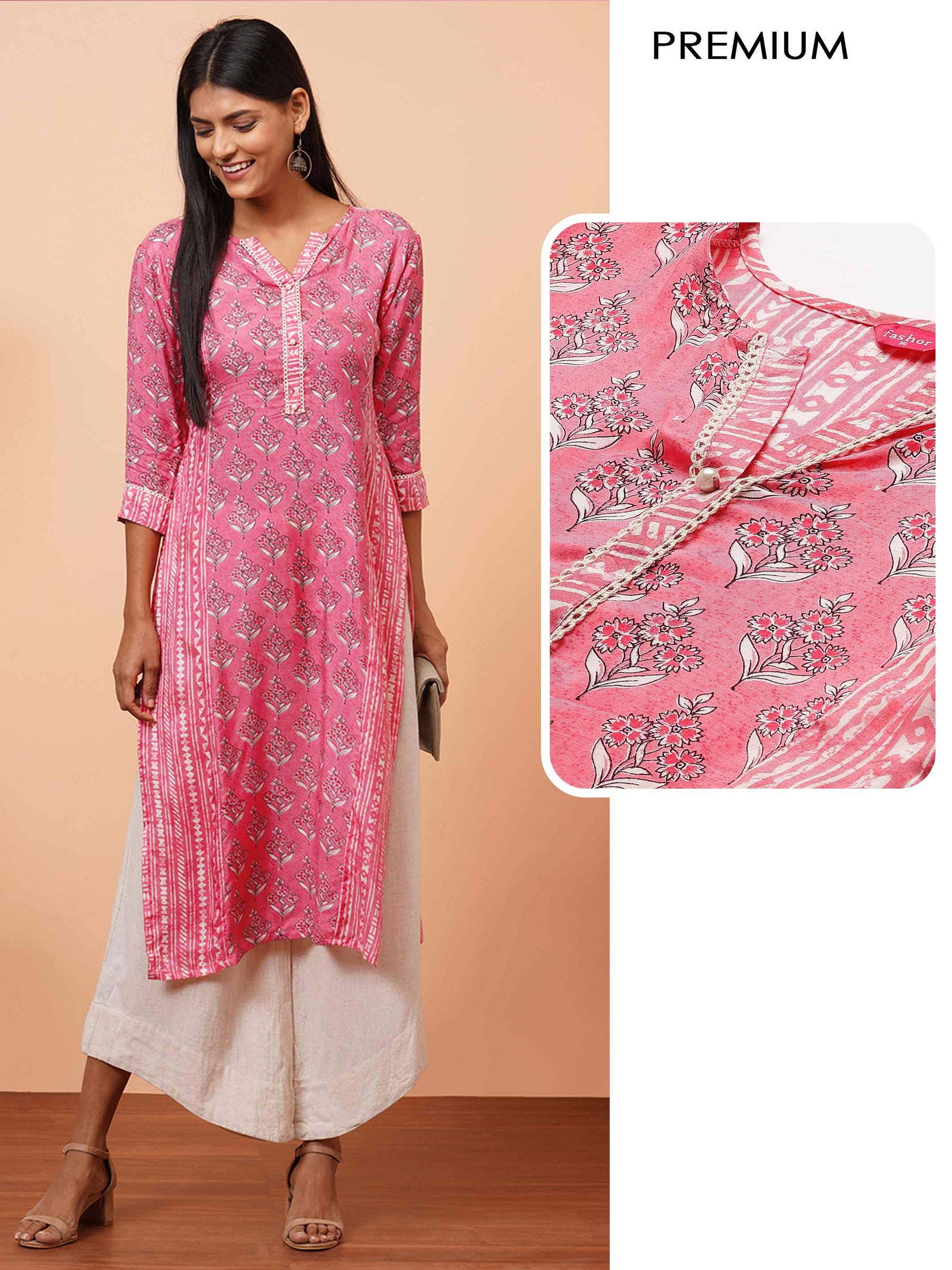 Floral Mix Printed Straight Kurta - Pink