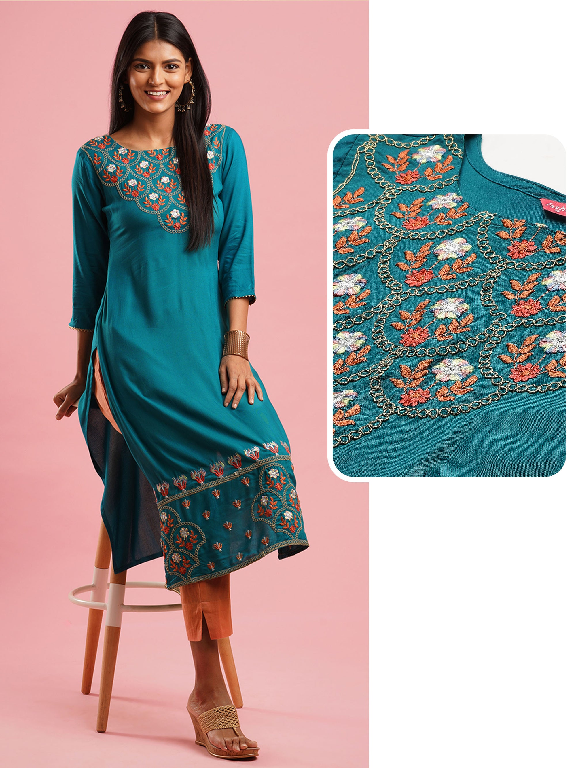 Ethnic Embroidered Straight kurta - Teal