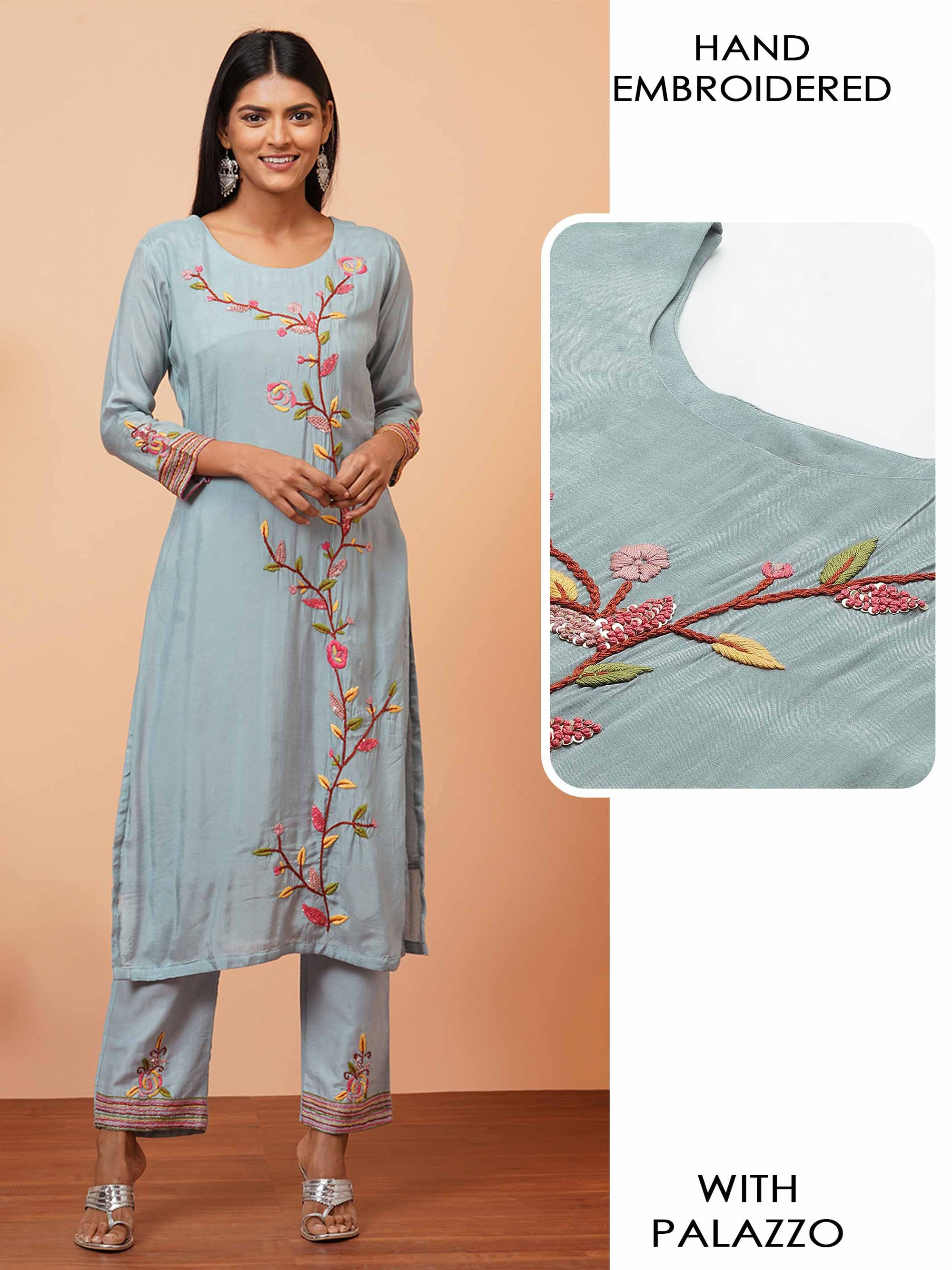 Floral Hand Embroidered Kurta with Hand Embroidered Palazzo - Powder blue