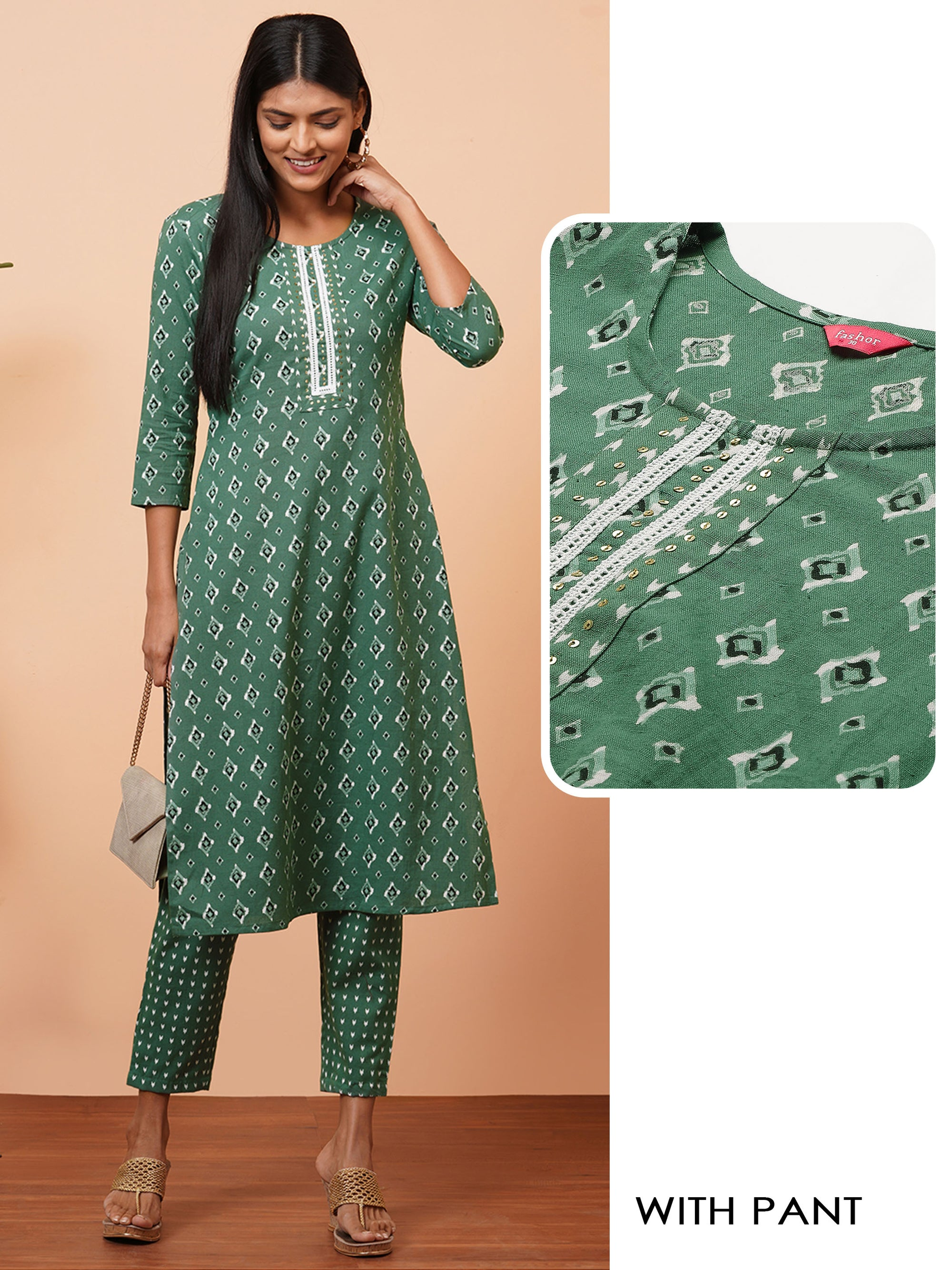 Ethnic Dense Printed Kurta with printed Pant - Olive Green