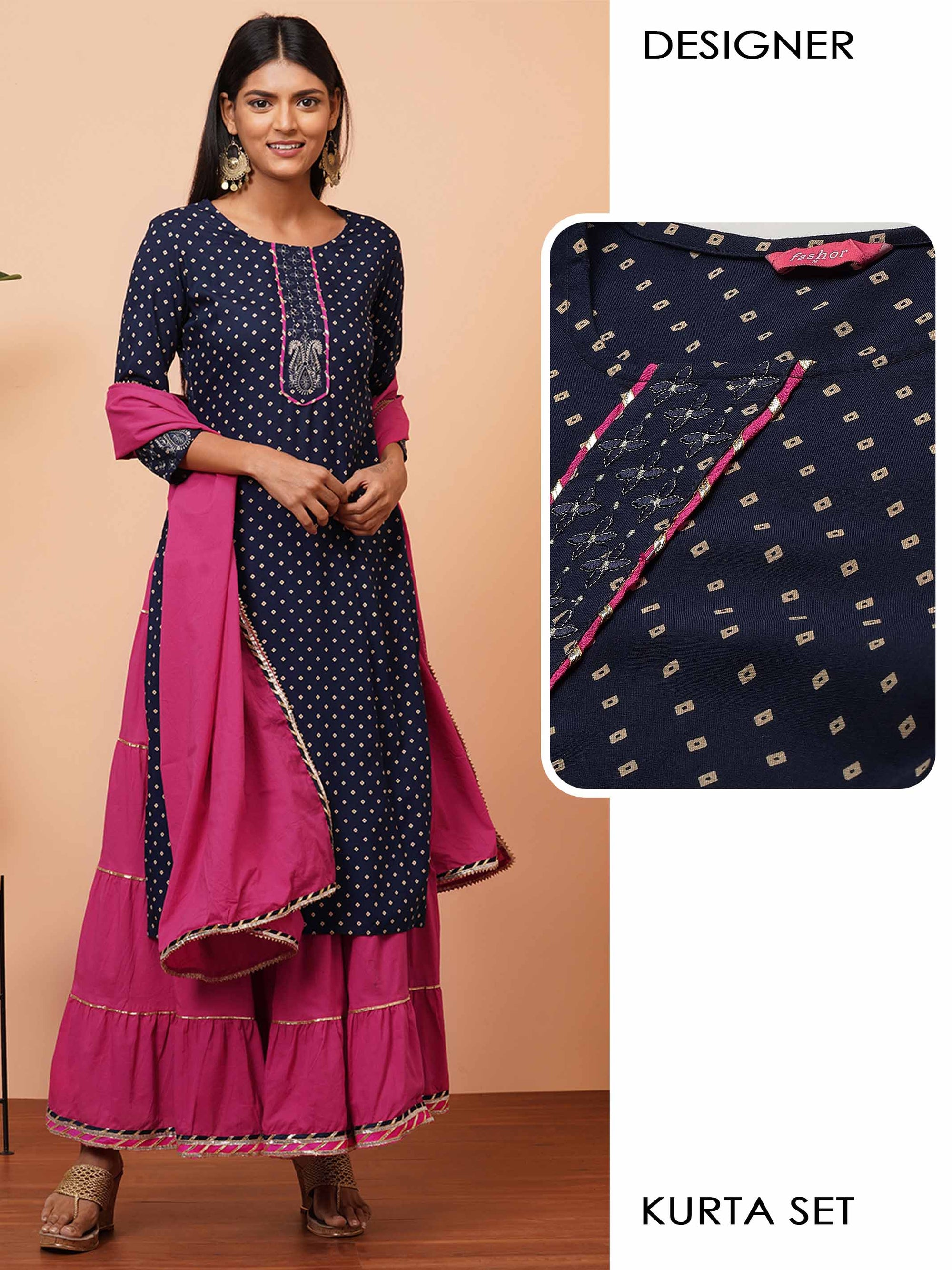 Bandhani Printed Kurta with Solid Tiered Skirt & Solid Dupatta - Navy Blue