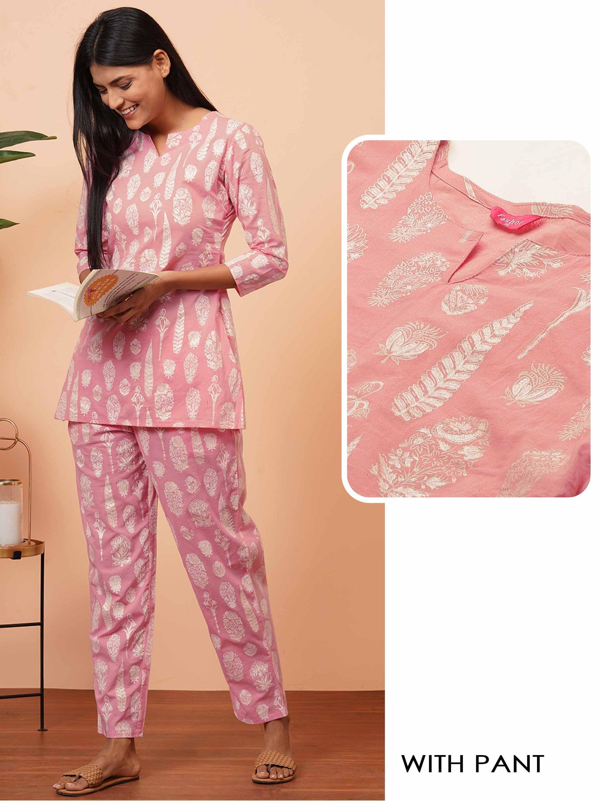 Floral Khari Printed Soft Cotton Loungewear - Baby Pink