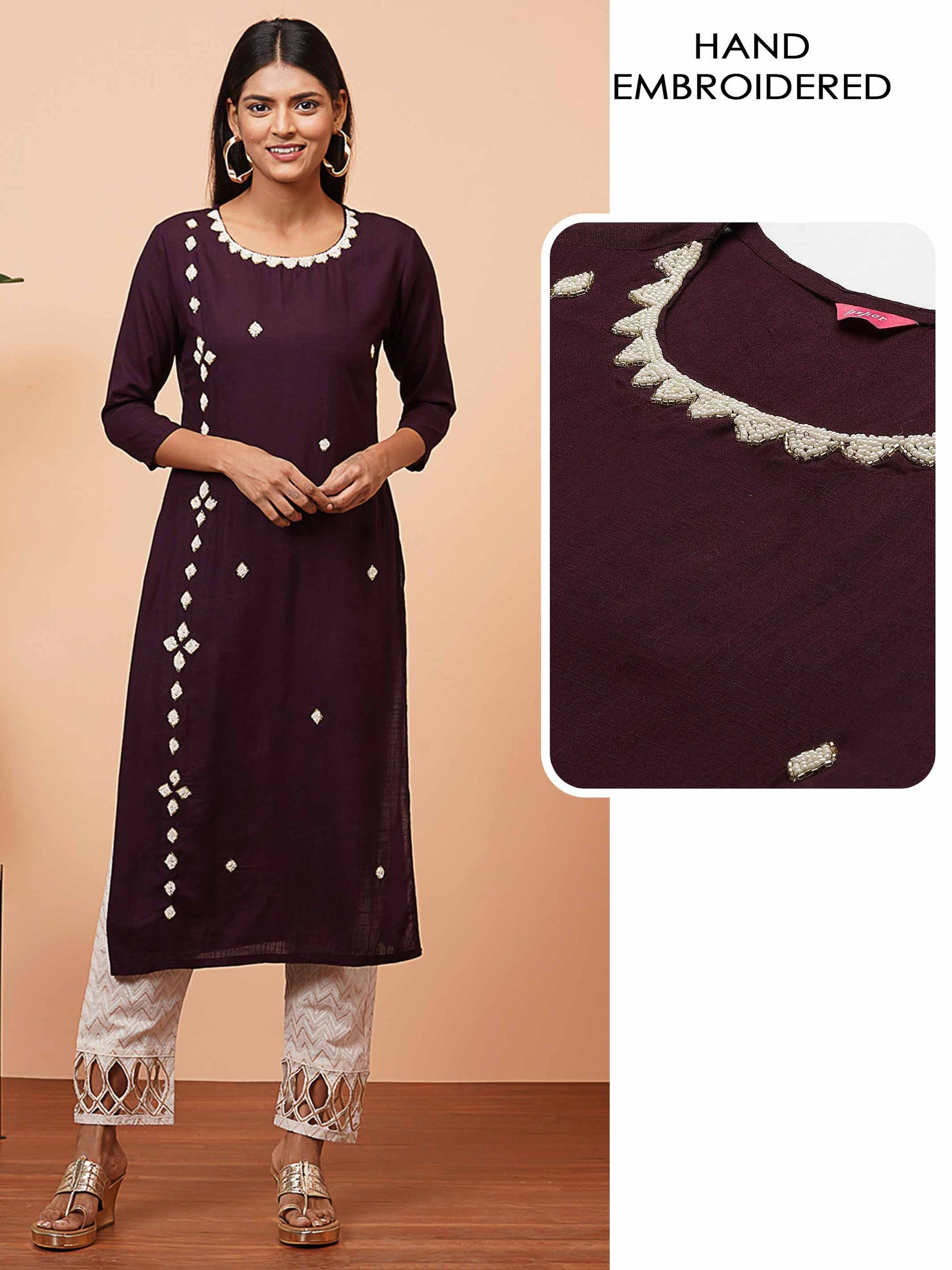 White Beads Hand Embroidered Straight Kurta - Plum
