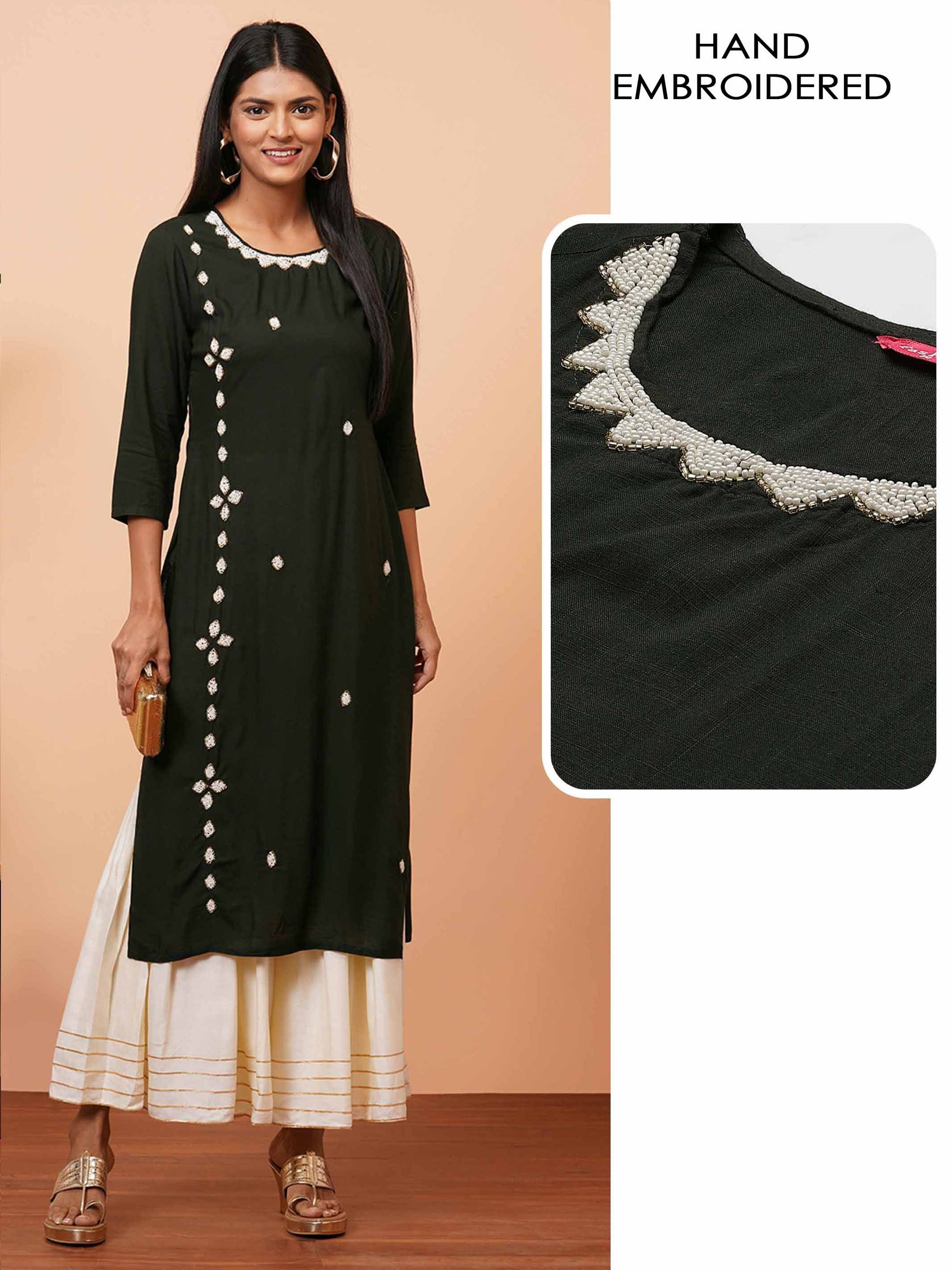 White Beads Hand Embroidered Straight Kurta - Emerald Green