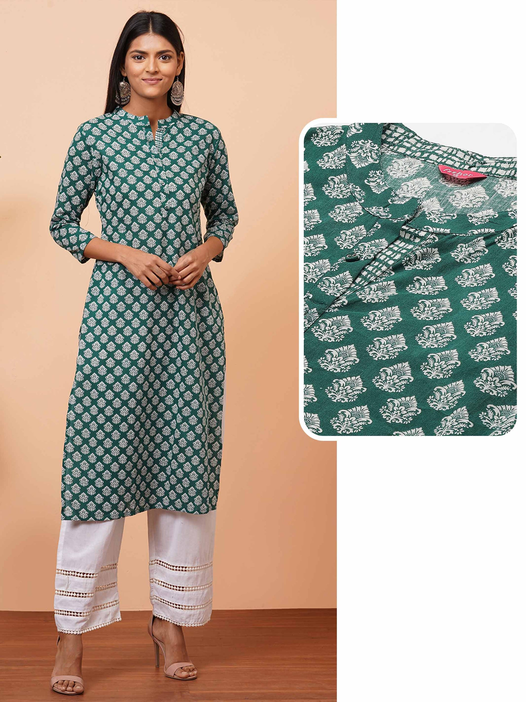Dense Ethnic Printed Straight Kurta - Bottle Green