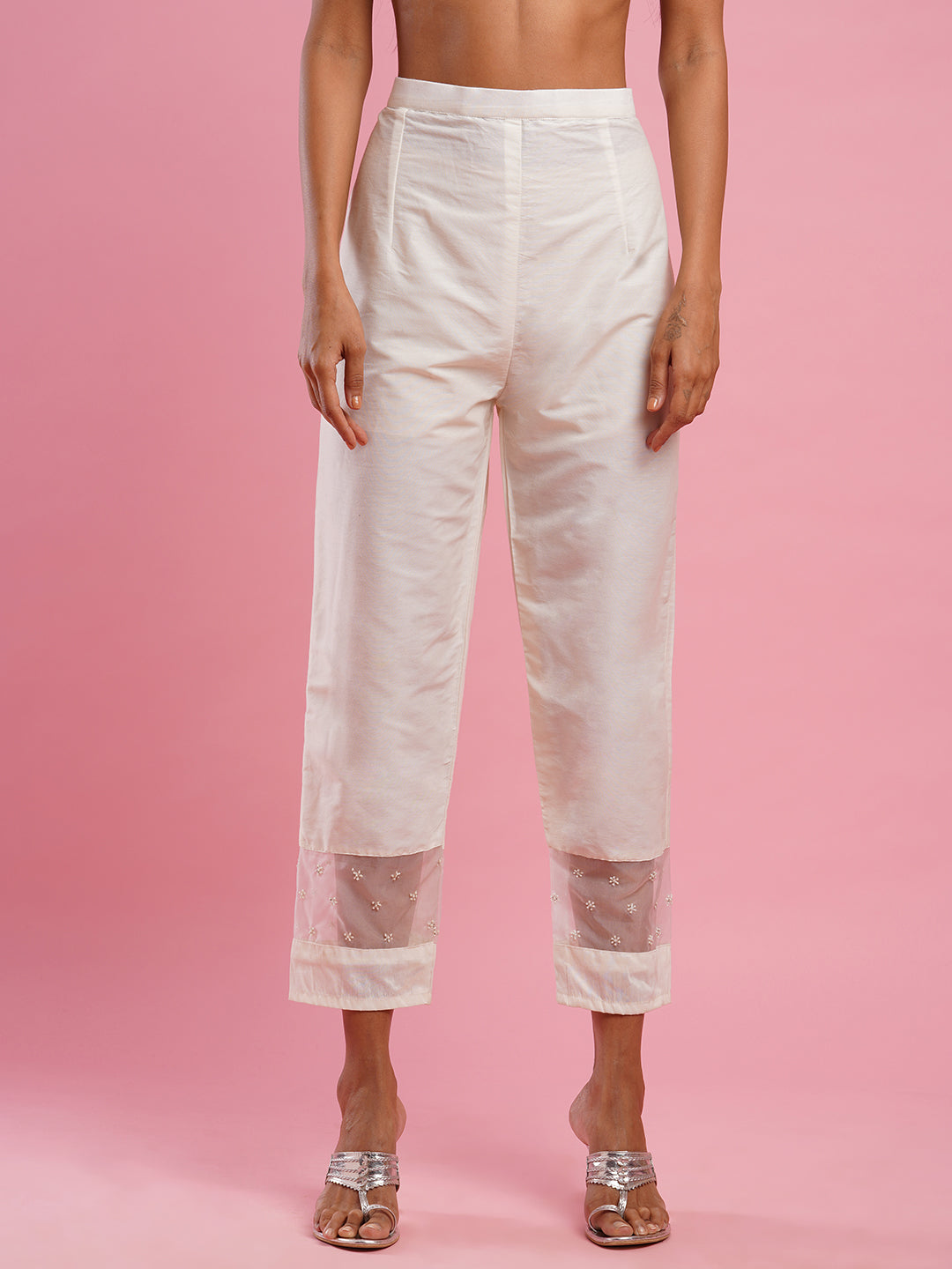 Embellished Patch worked Pant - Off White