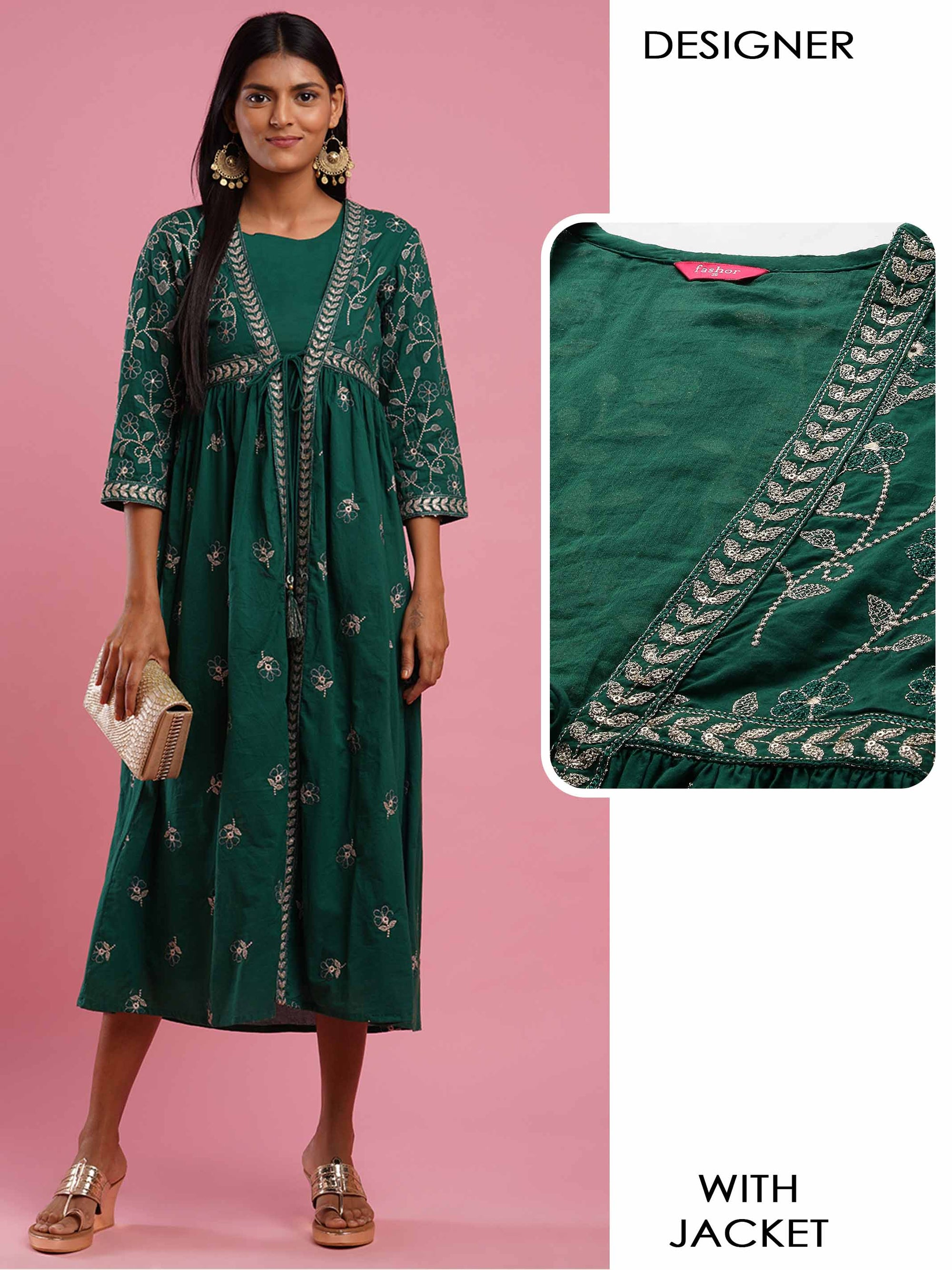 Dense Floral Embroidered Festive Jacket With Solid A-Line Slip Dress - Dark Green