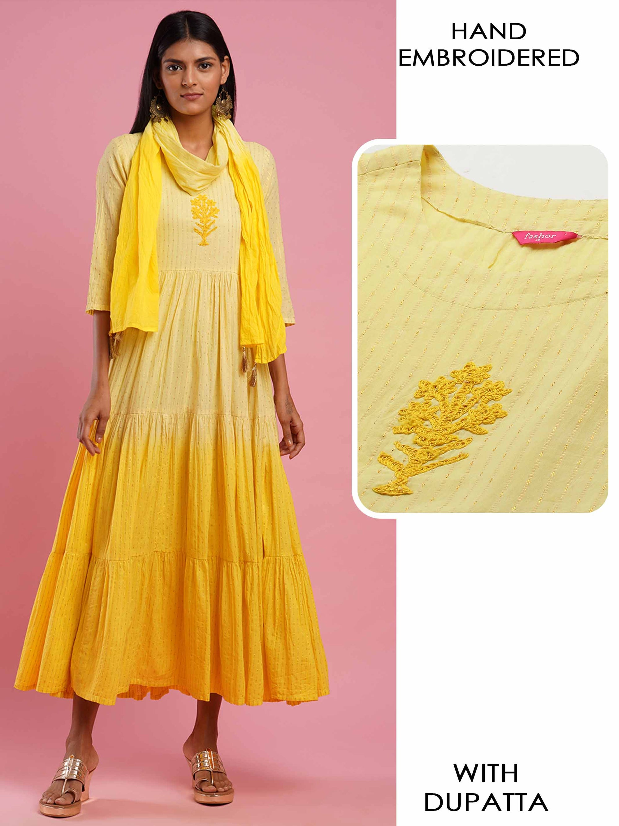 Handcrafted & Ombre dyed Tiered Maxi Dress With Ombre Dyed Dupatta - Yellow