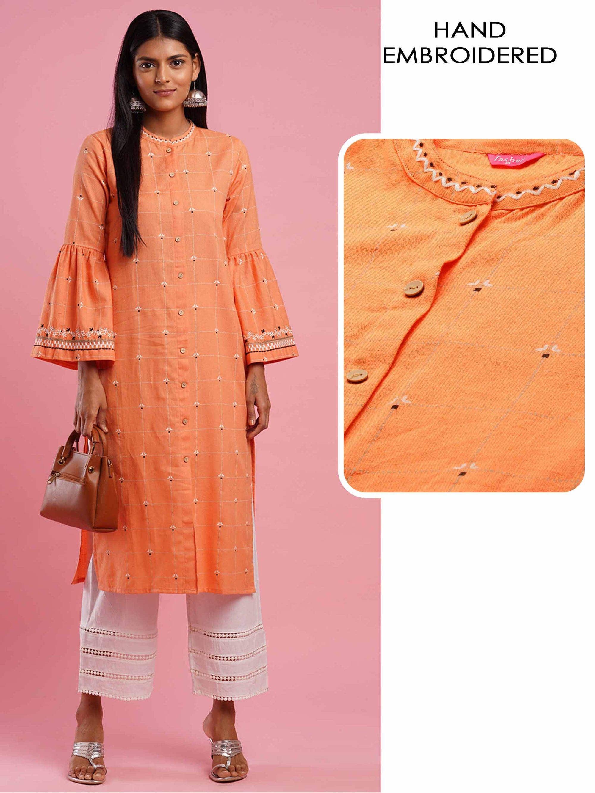 Floral Hand Embroidered & Khari Printed Straight Kurta - Orange