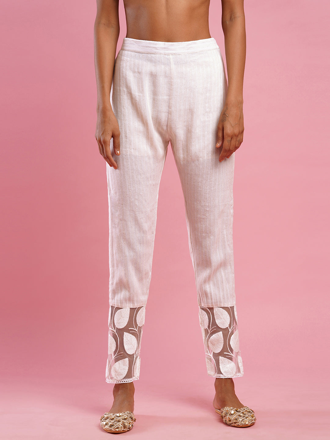 Woven Striped & Leaf Embroidered Ankle Pant - Off White
