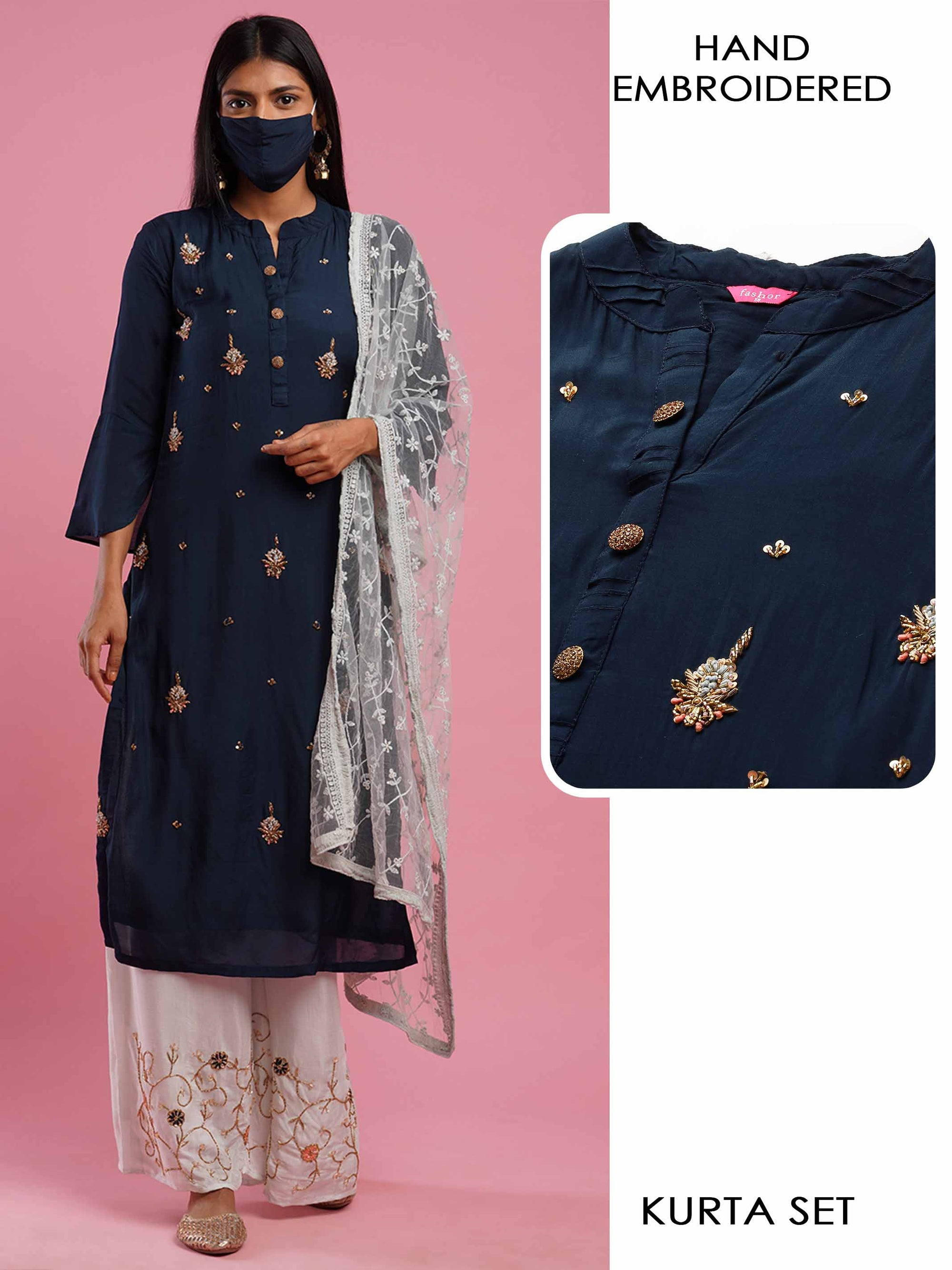 Floral Hand Embroidered Kurta with Ethnic Hand Embroidered Palazzo & Floral Embroidered Dupatta - Navy Blue