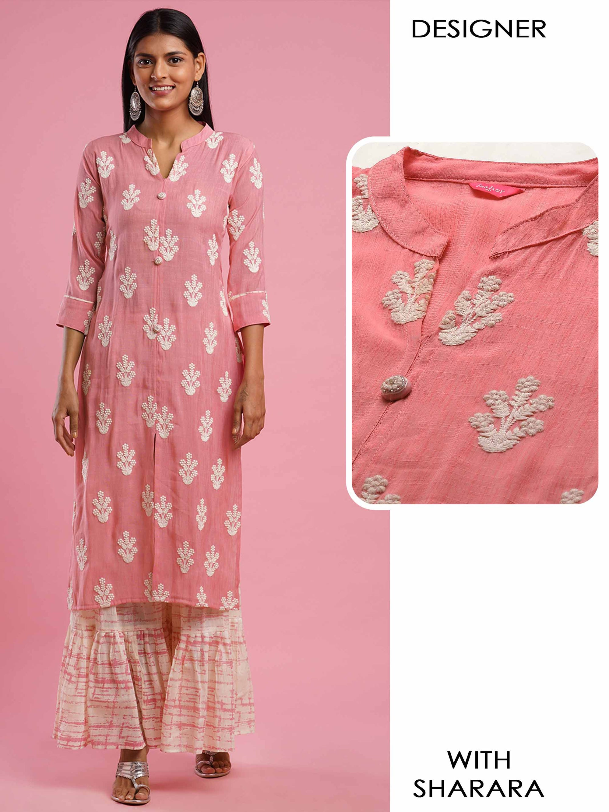 Intricate Floral Embroidered Straight Kurta with Distressed Printed Sharara - Pink