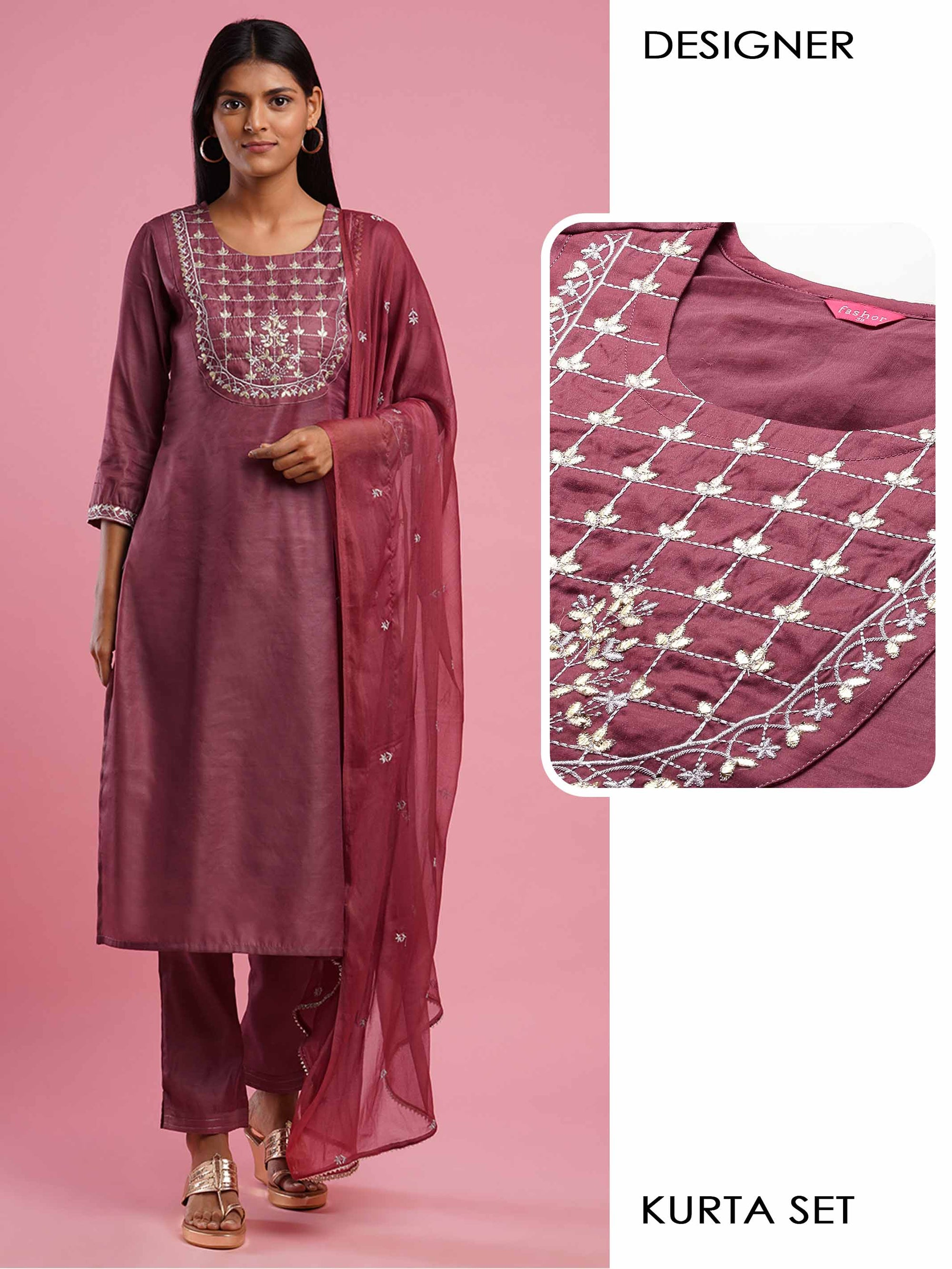 Floral Embroidered Kurta with Solid Pant & Minimal Embroidered Chiffon Dupatta - Rose Dawn