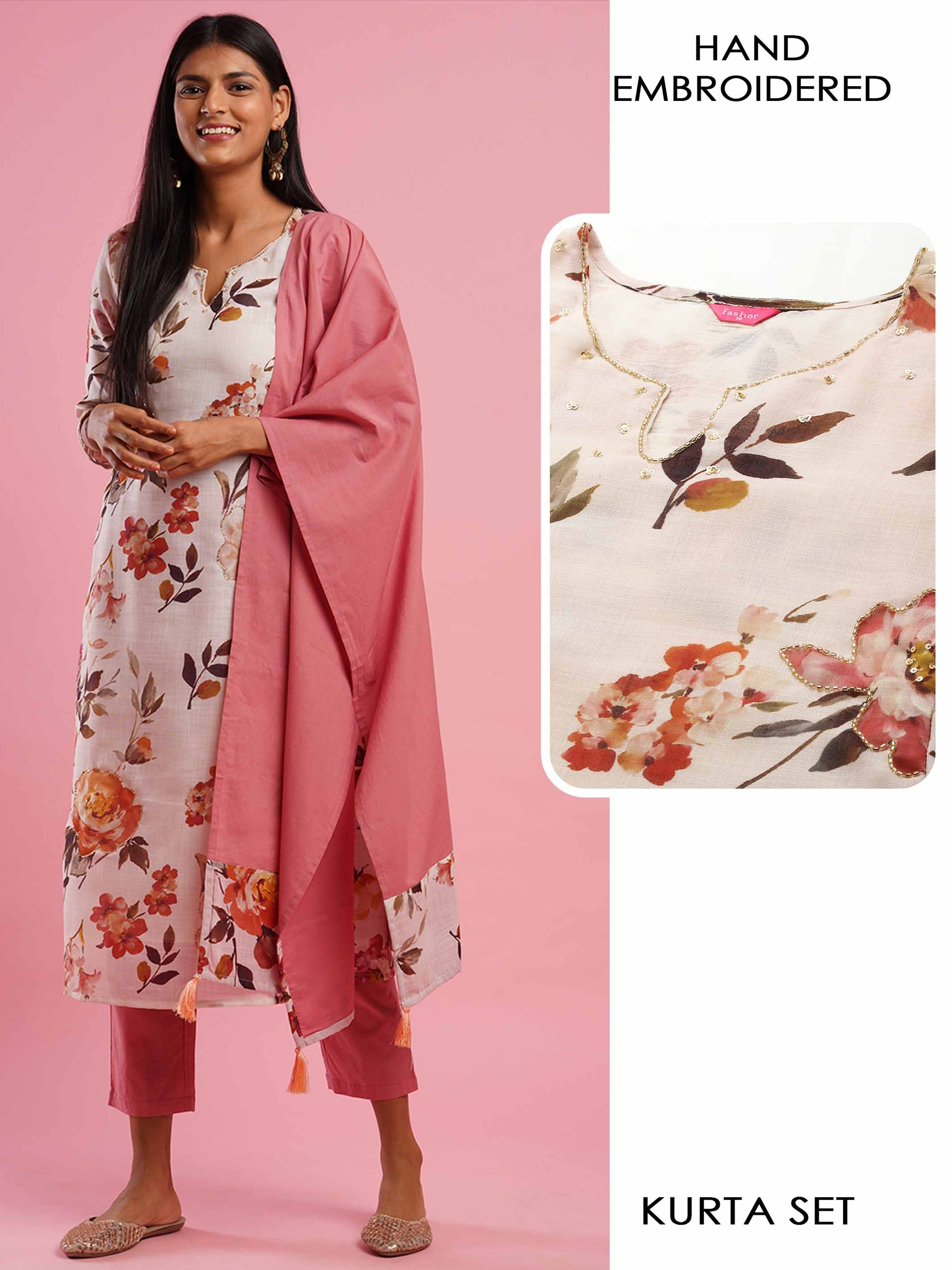 Floral Printed & Hand Embroidered Kurta with Solid Ankle Pant & Solid Dupatta - Off White