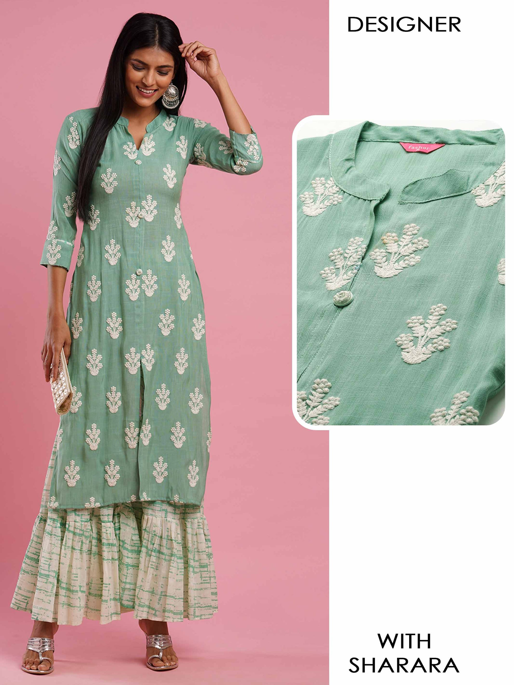 Floral Embroidered Straight Kurta with Distressed Printed Sharara - Mint Green