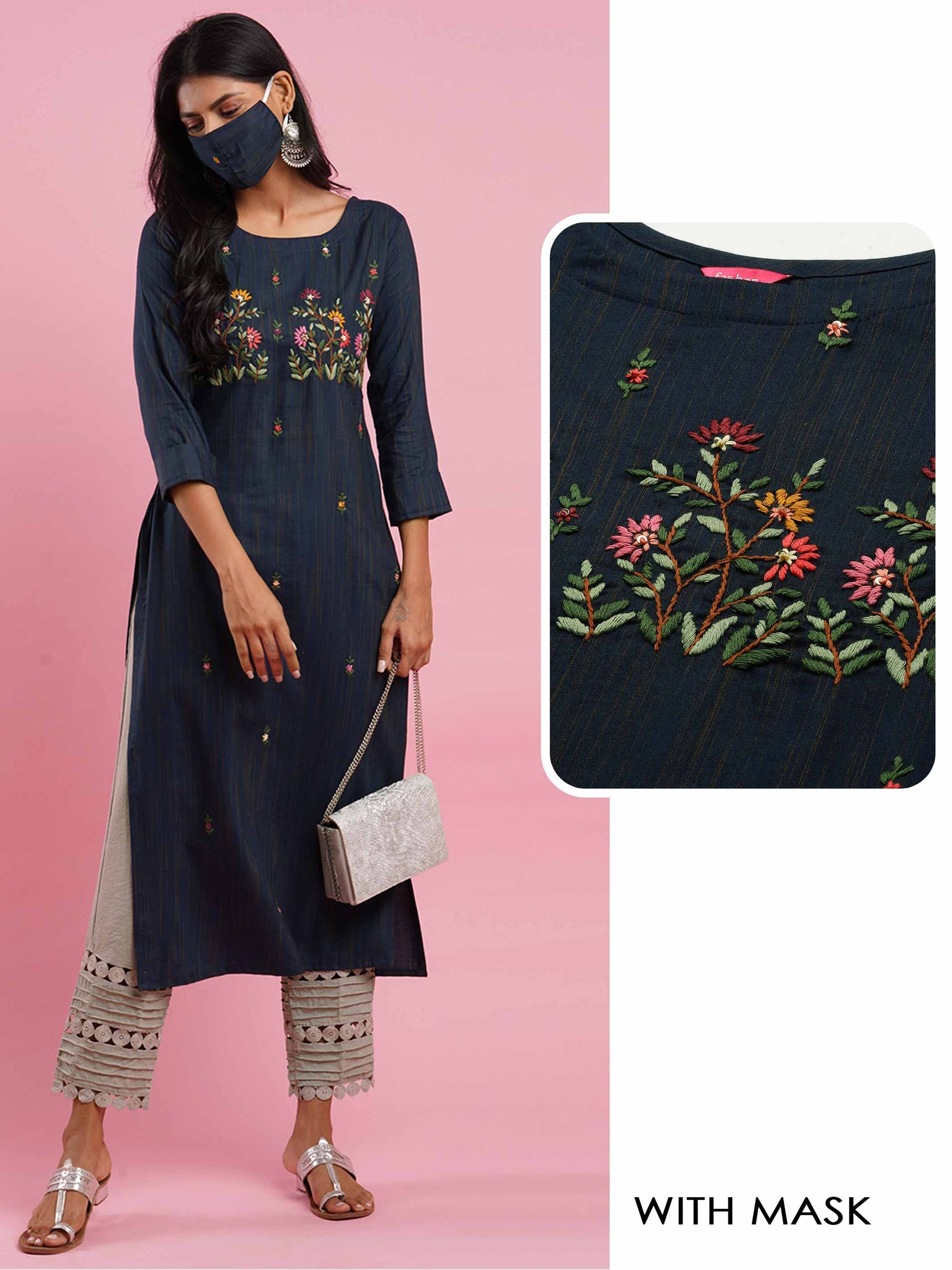 Floral Embroidered & Woven Texture Straight Kurta with 2-Ply Mask - Navy Blue