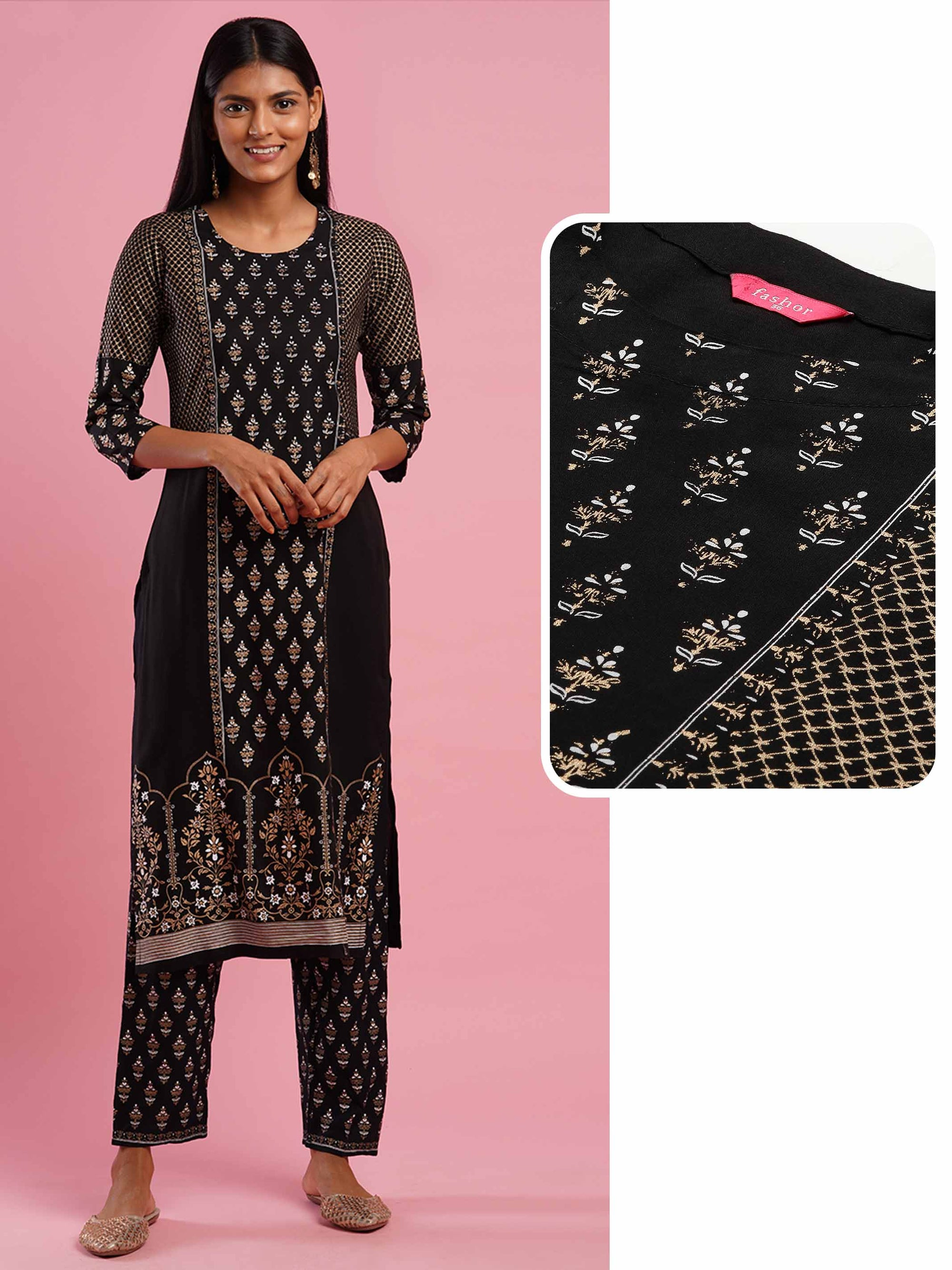 Ethnic Foil & Khari Printed Straight Kurta - Black