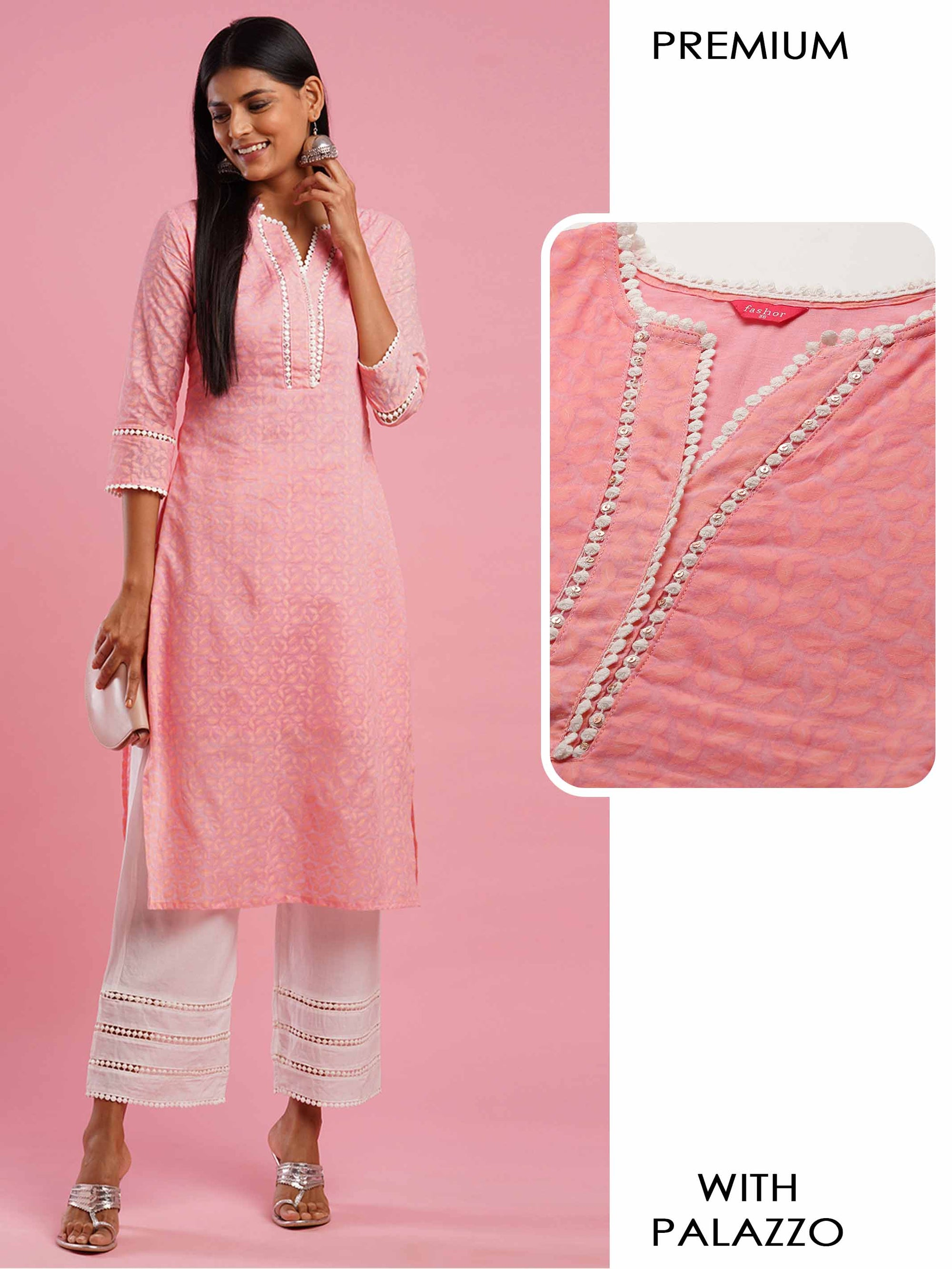 Dense Leaf Printed Kurta with Solid Palazzo - Pink