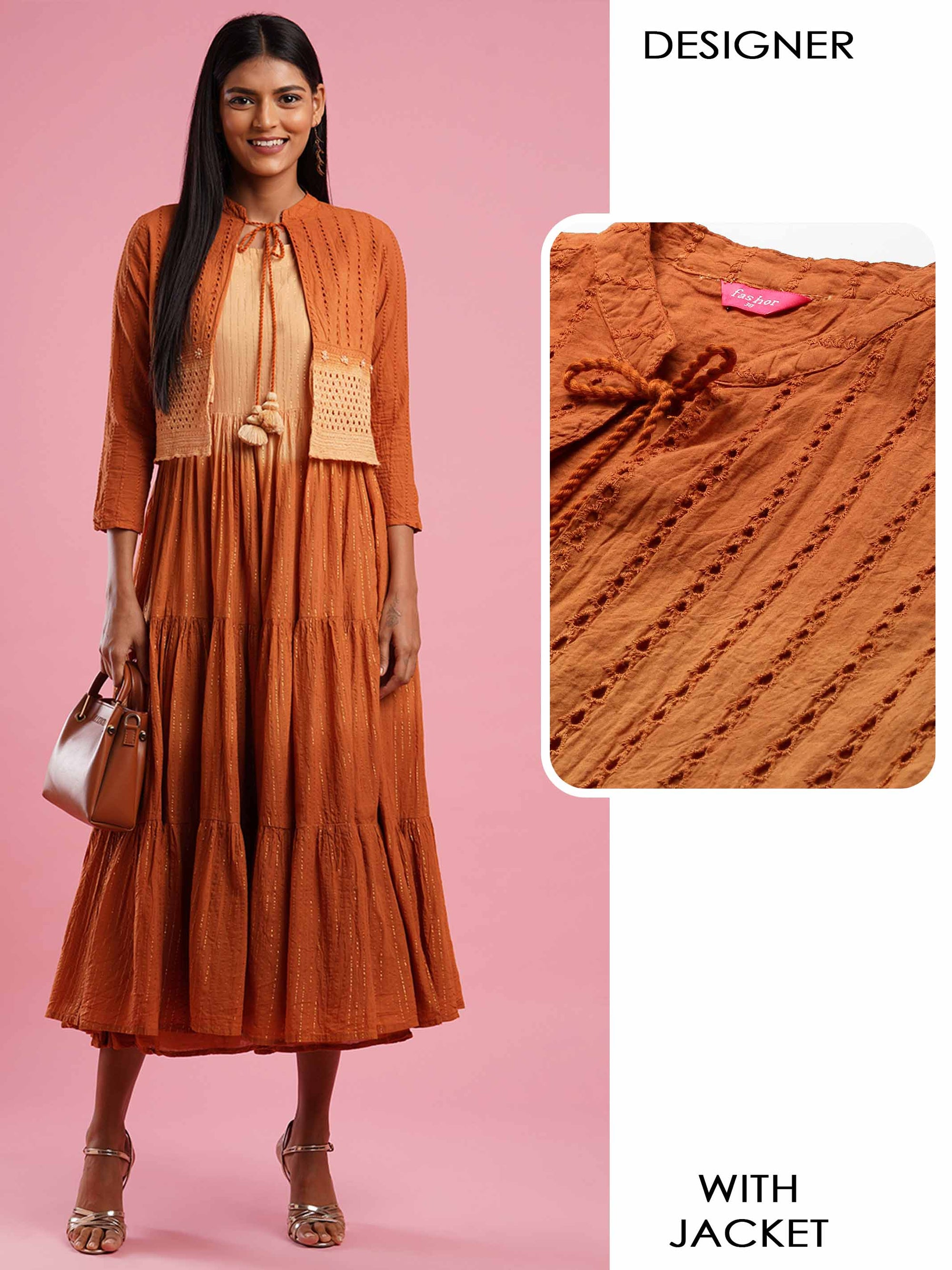 Lurex Woven Tiered Flared Maxi Dress with Handcrafted & Ombre Dyed Jacket - Rust Orange
