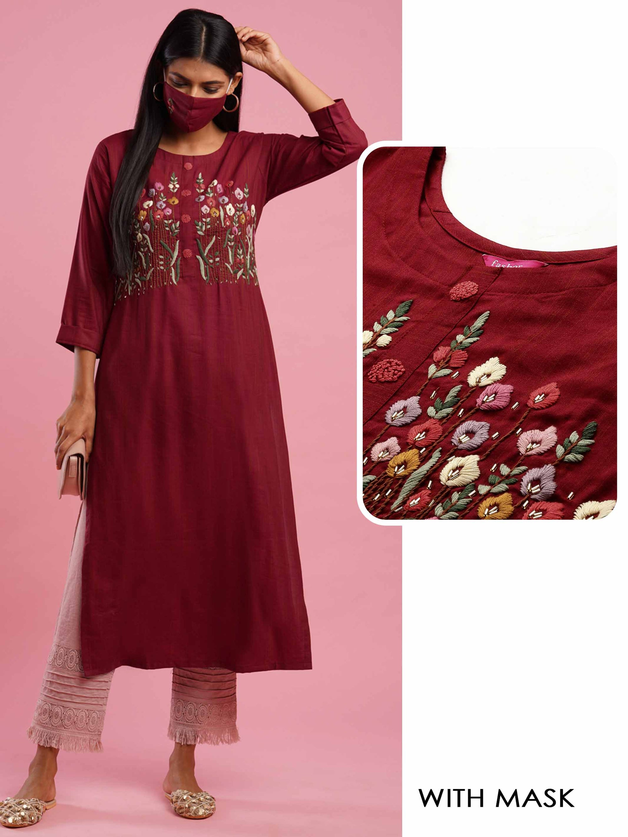 Floral Embroidered & Woven Texture Straight Kurta with 2-Ply Mask - Maroon